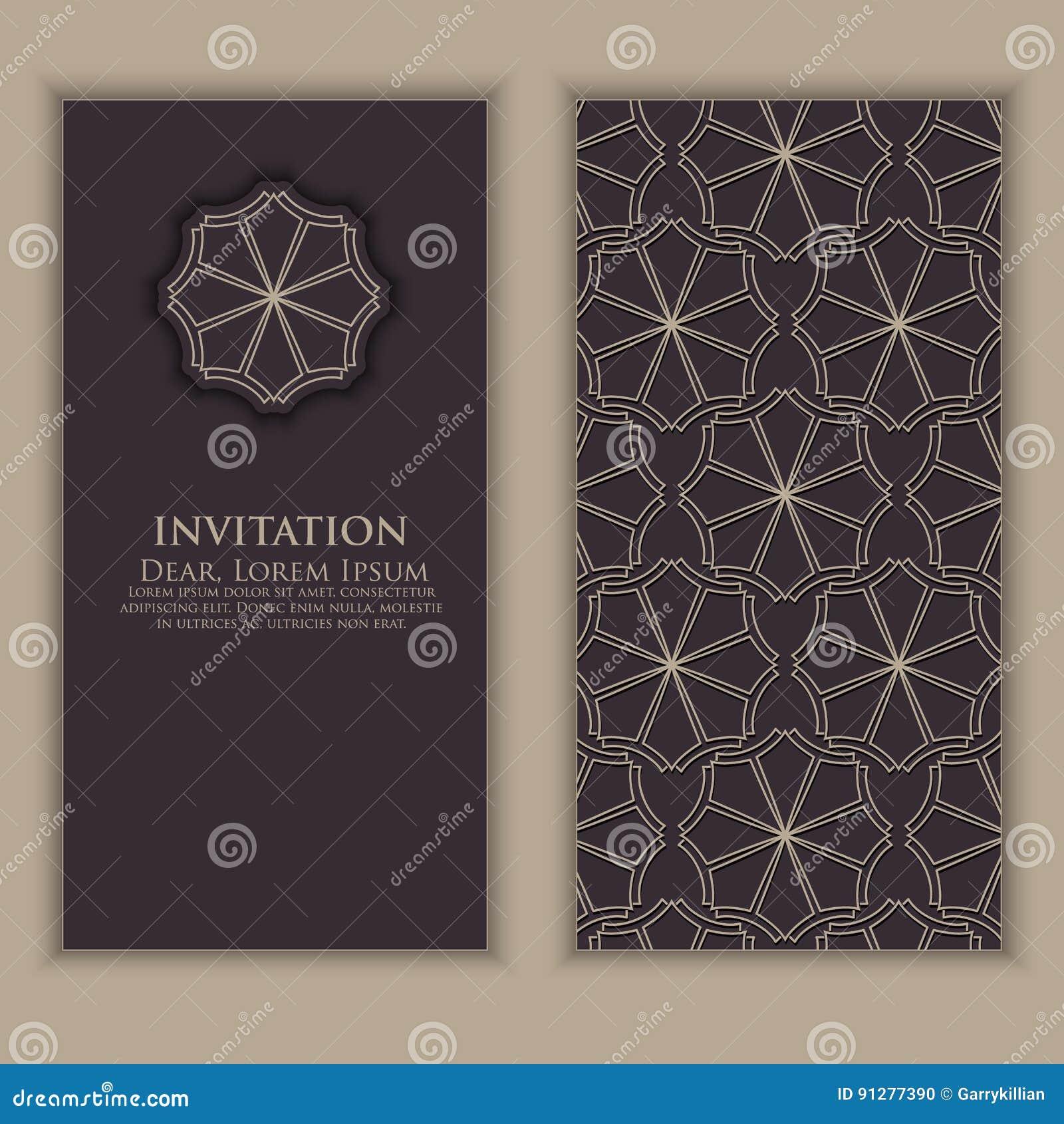 Invitation Cartes Avec Les Lments Ethniques Darabesque Conception De Style Visite Professionnelle Fond Fleuri Lgant