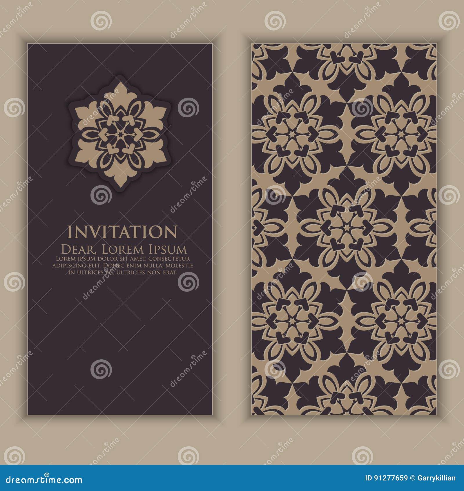 Invitation Cartes Avec Les Elements Ethniques Darabesque Conception De Style Visite Professionnelle Fond Fleuri Elegant