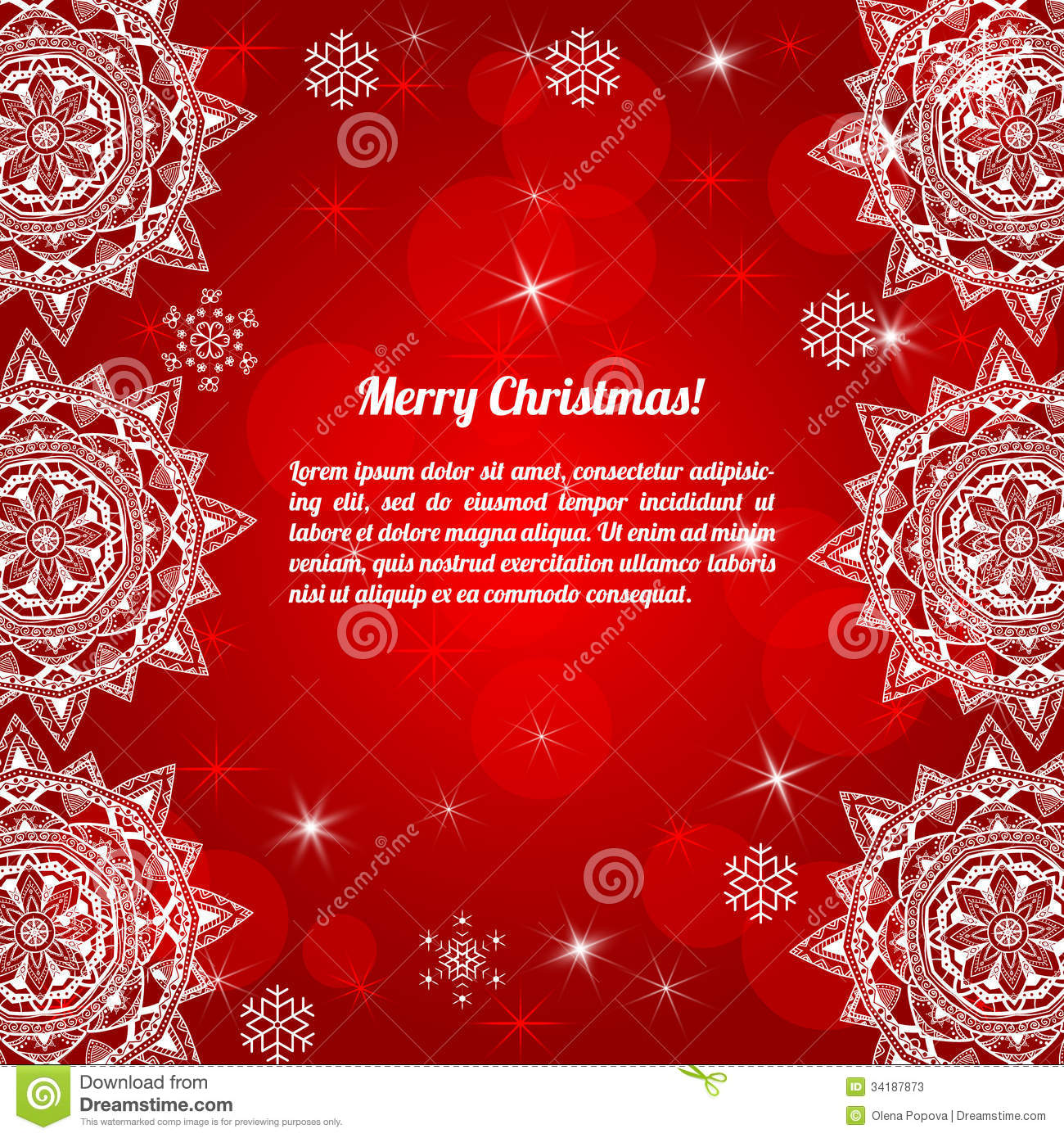 Invitation Christmas Card With Abstract Snowflakes Stock Vector ...