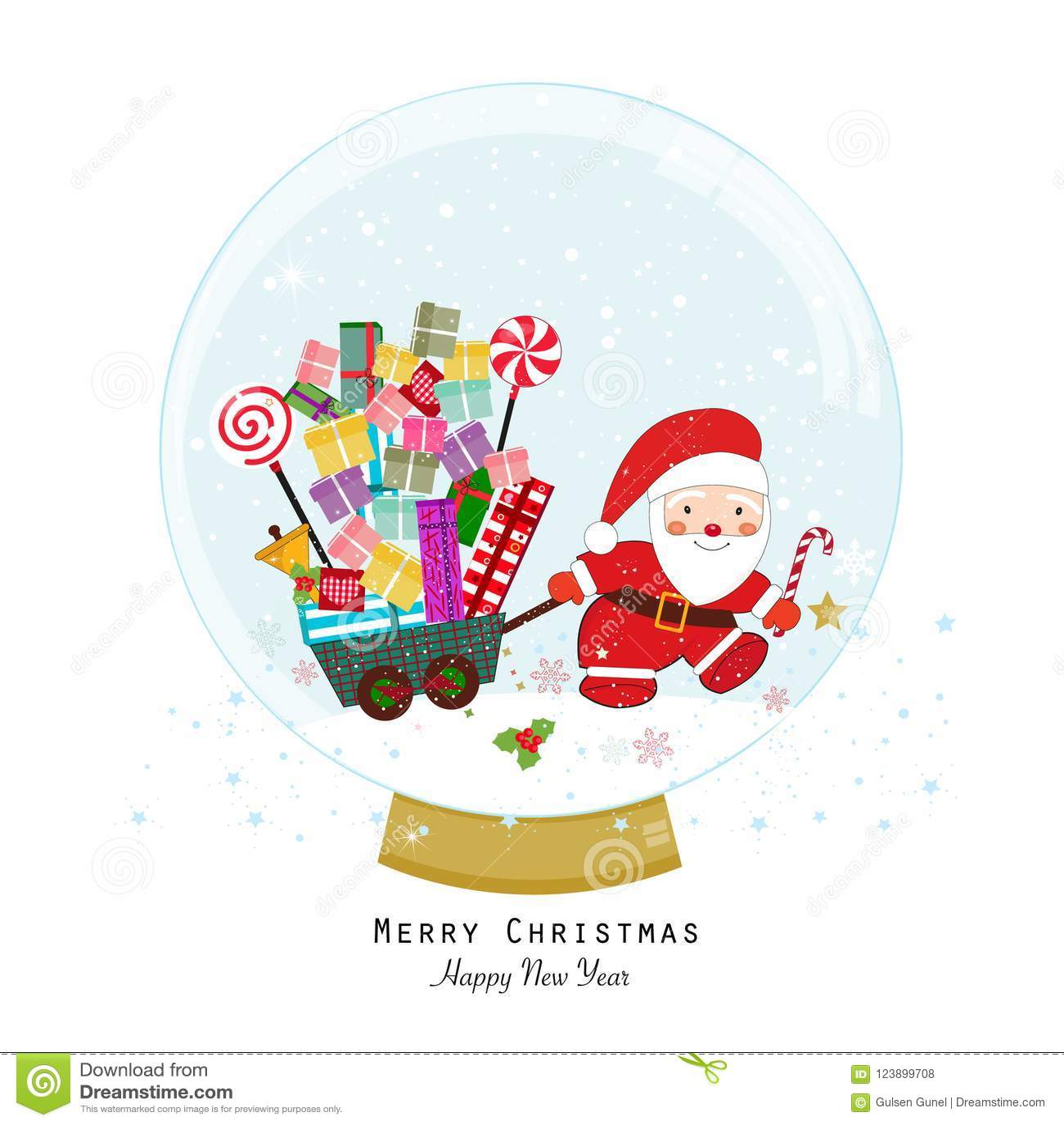 aaf6ca3eef59 Blanc de vecteur de neige d isolement par illustration de globe Le père noël  avec le cadre de cadeau Retenir le cadeau Carte de voeux de Joyeux Noël de  ...