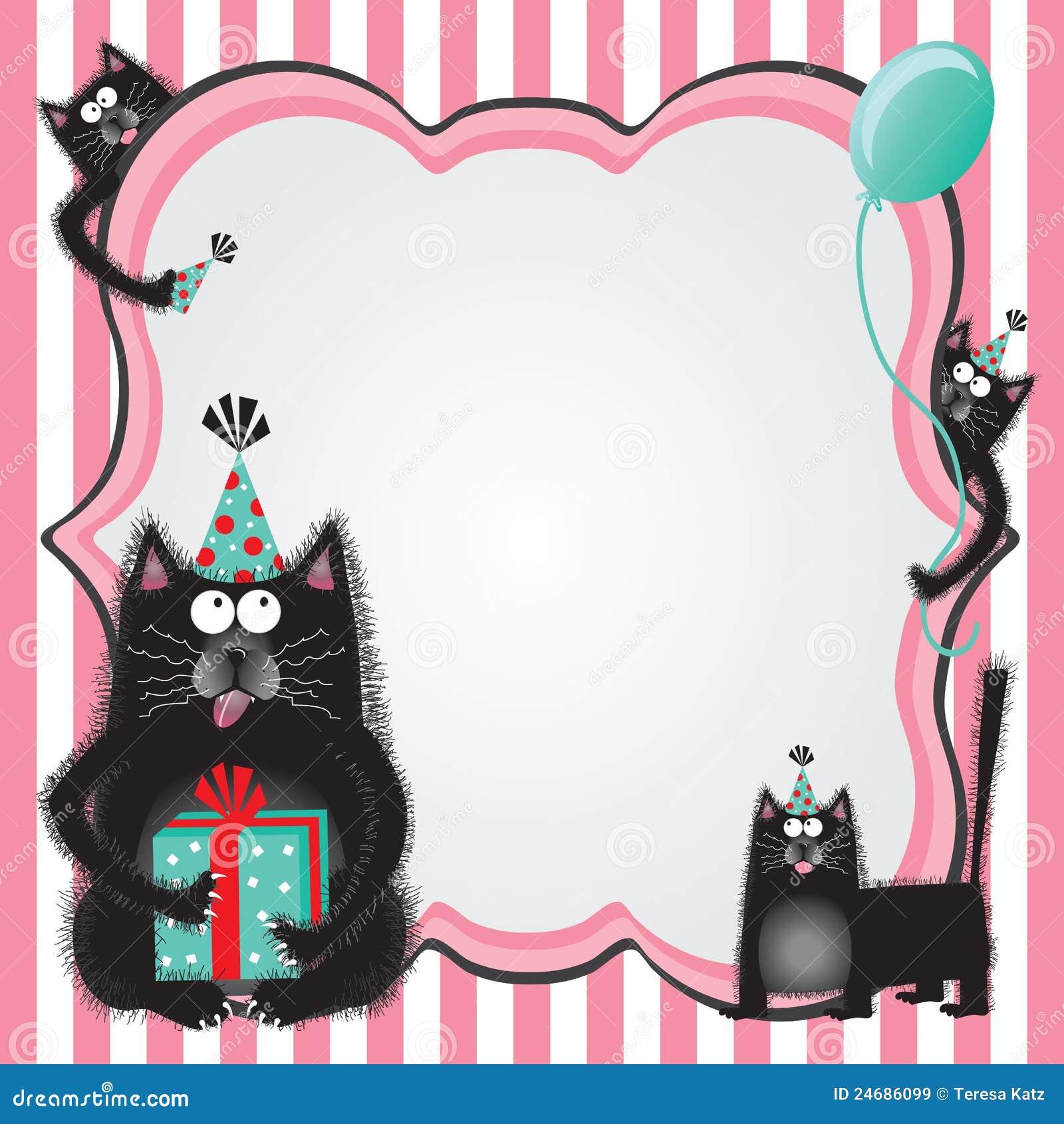 Invitation De Fête D'anniversaire De Chat De Kitty Images libres de droits - Image: 24686099