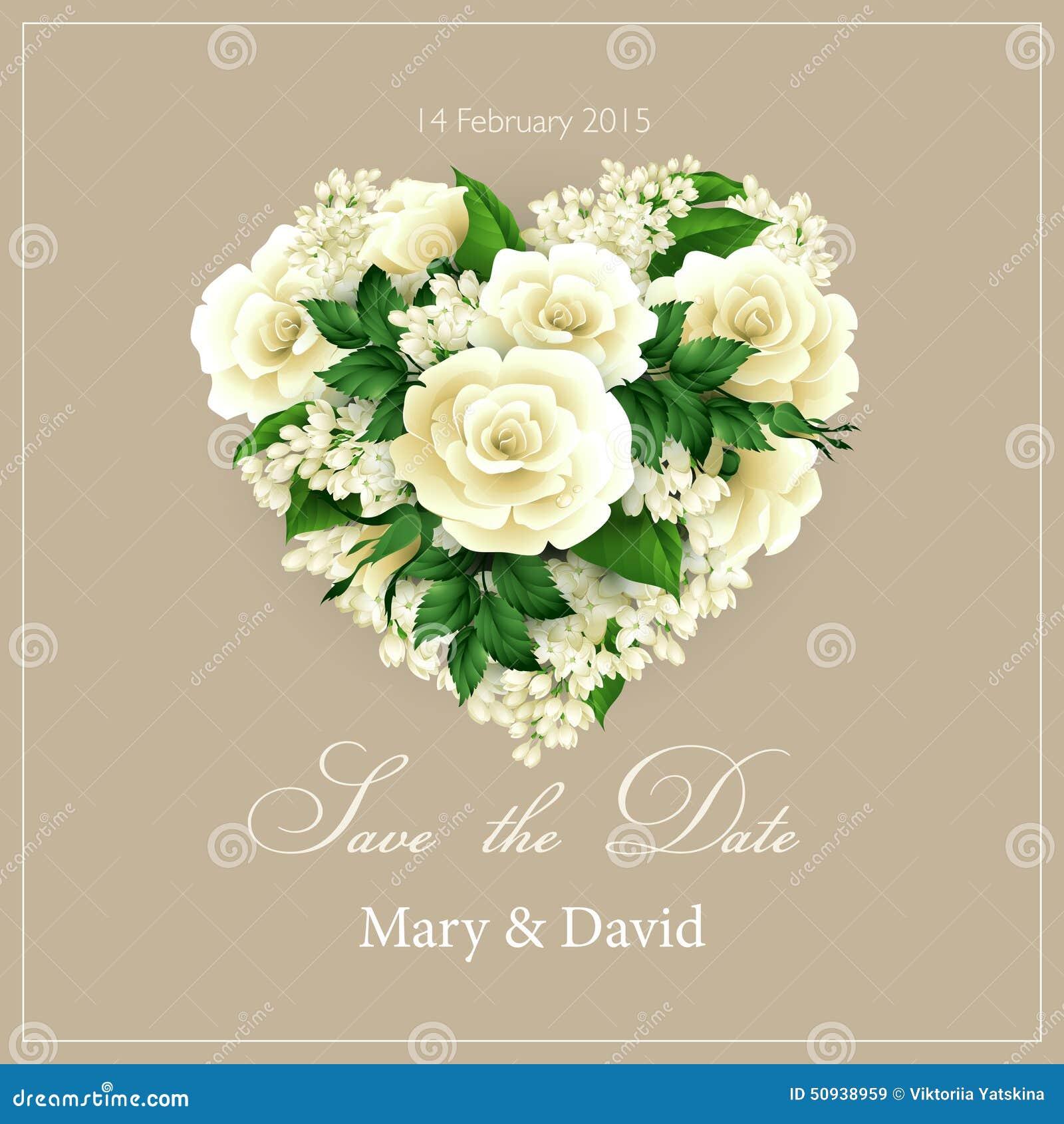 Invitation De Mariage Avec Le Coeur Des Fleurs Vecteur Illustration