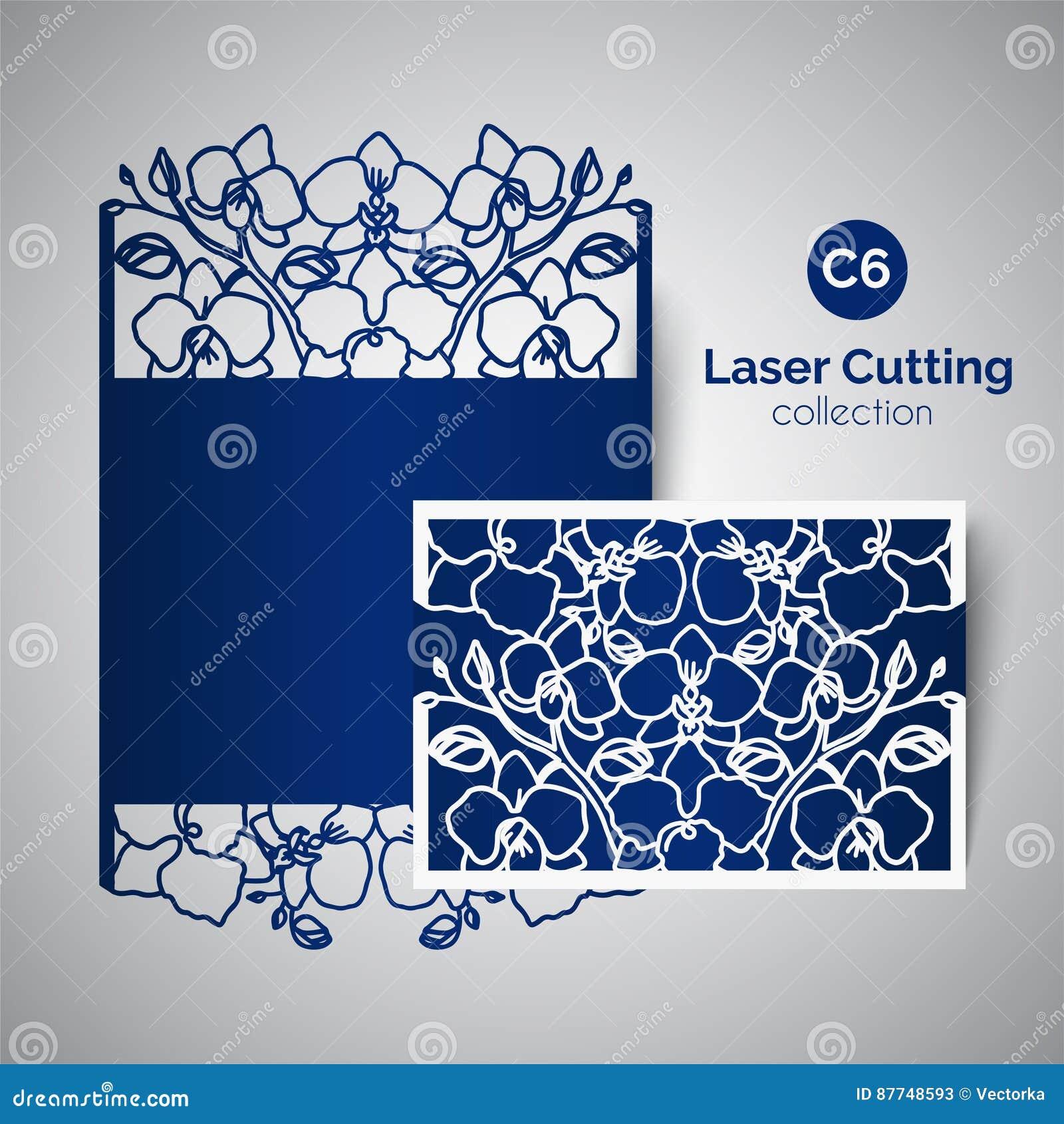 Invitation de mariage de coupe de laser enveloppe pour couper avec des fleurs d 39 orchid e - Coupe pour mariage invite ...