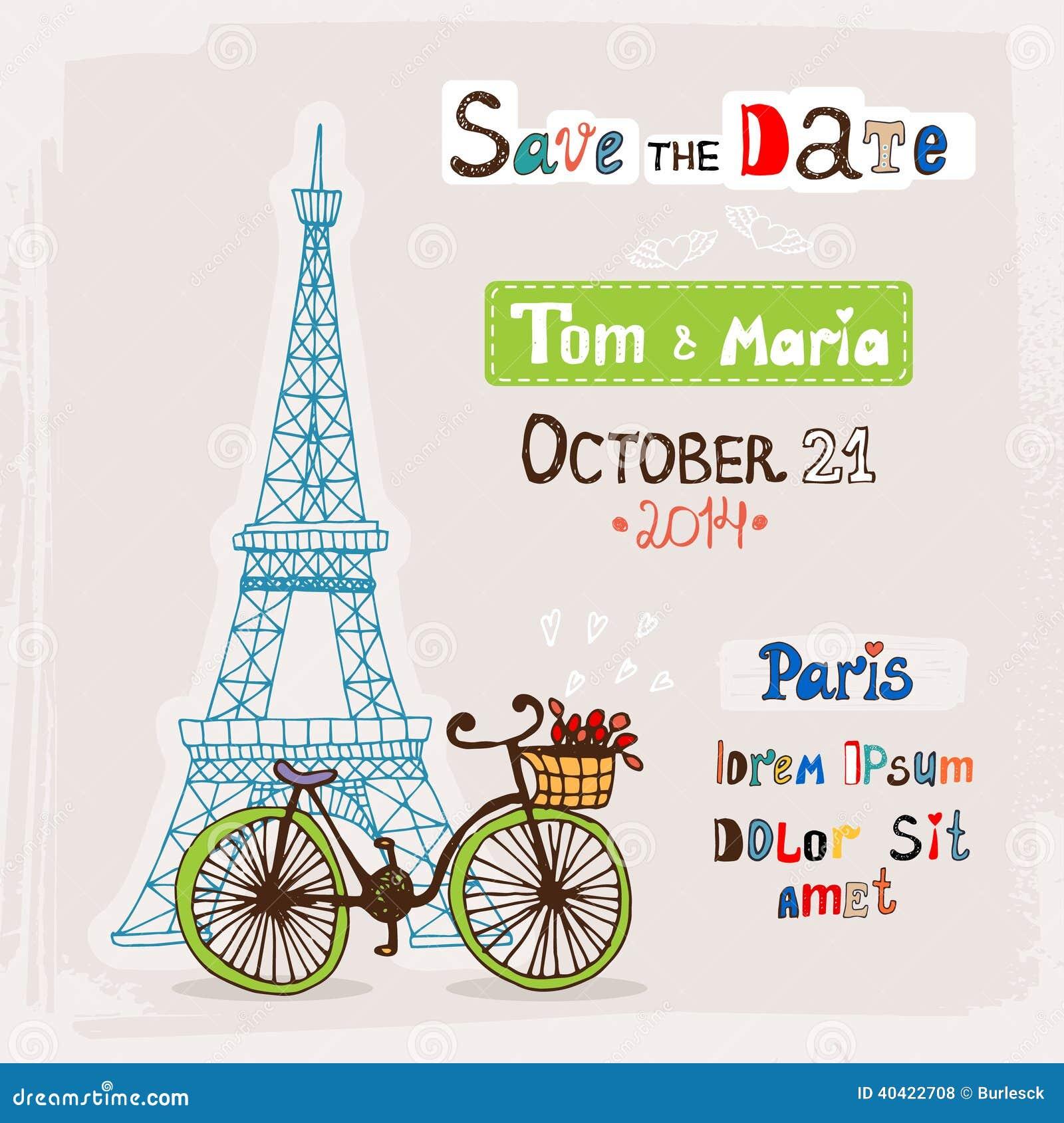 Invitation De Mariage De Paris Illustration De Vecteur