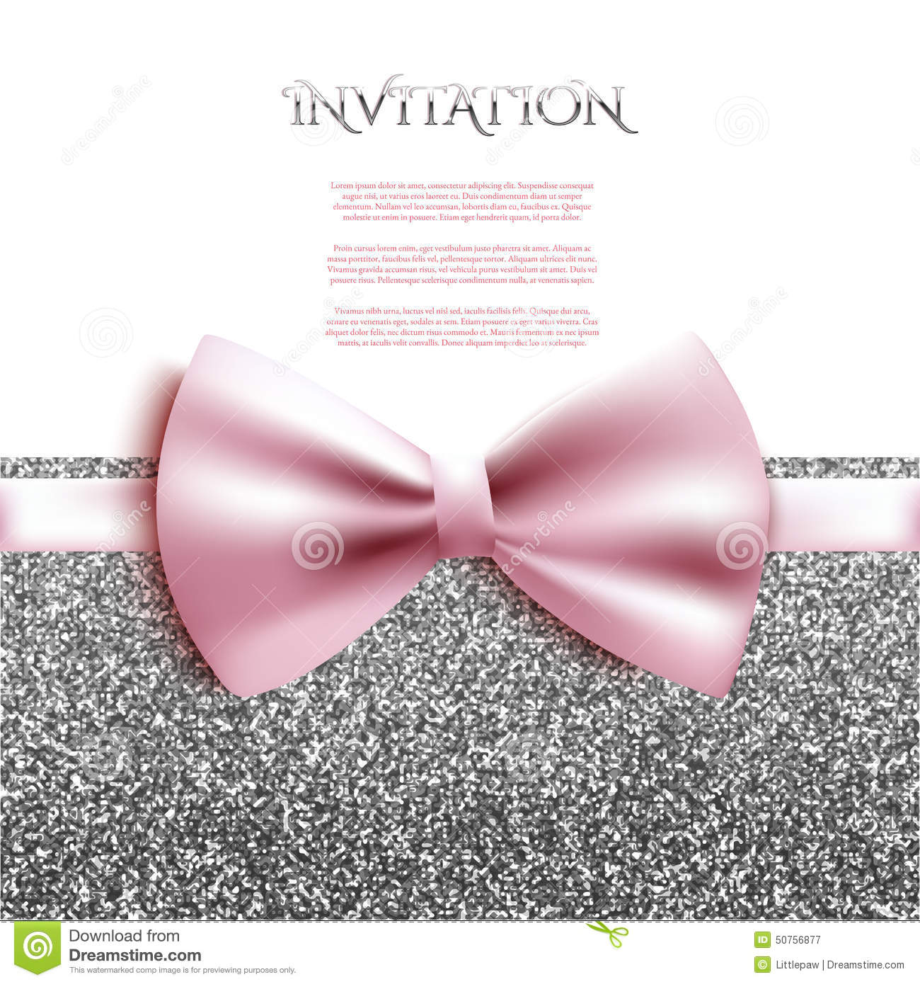 invitation decorative card template with bow and silver