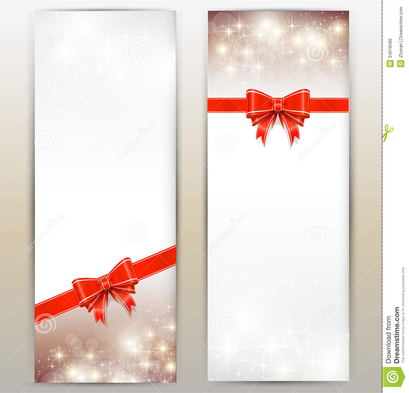 Invitation christmas cards with red bows.