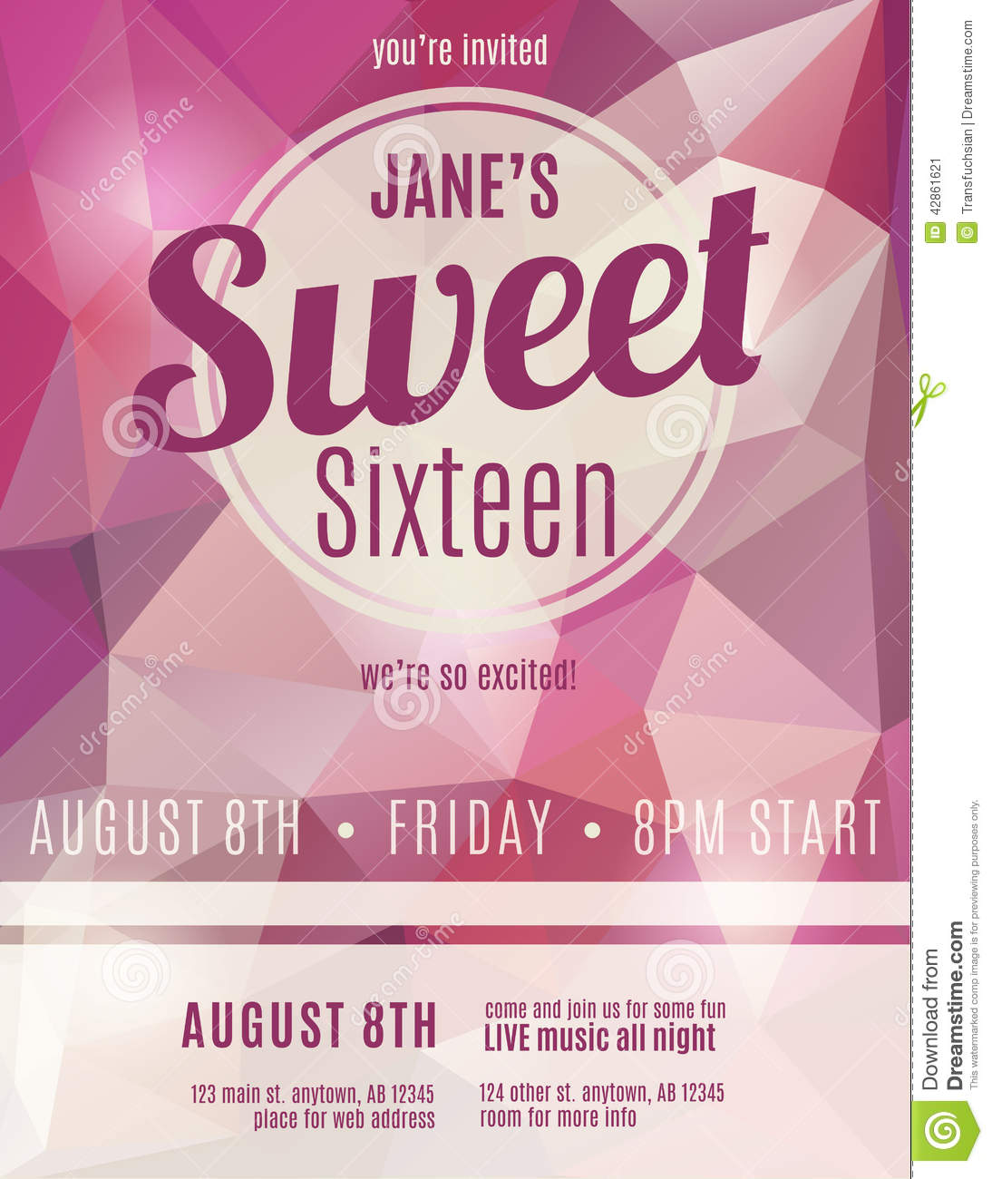 sweet sixteen program template - invitation flyer for sweet sixteen party stock vector