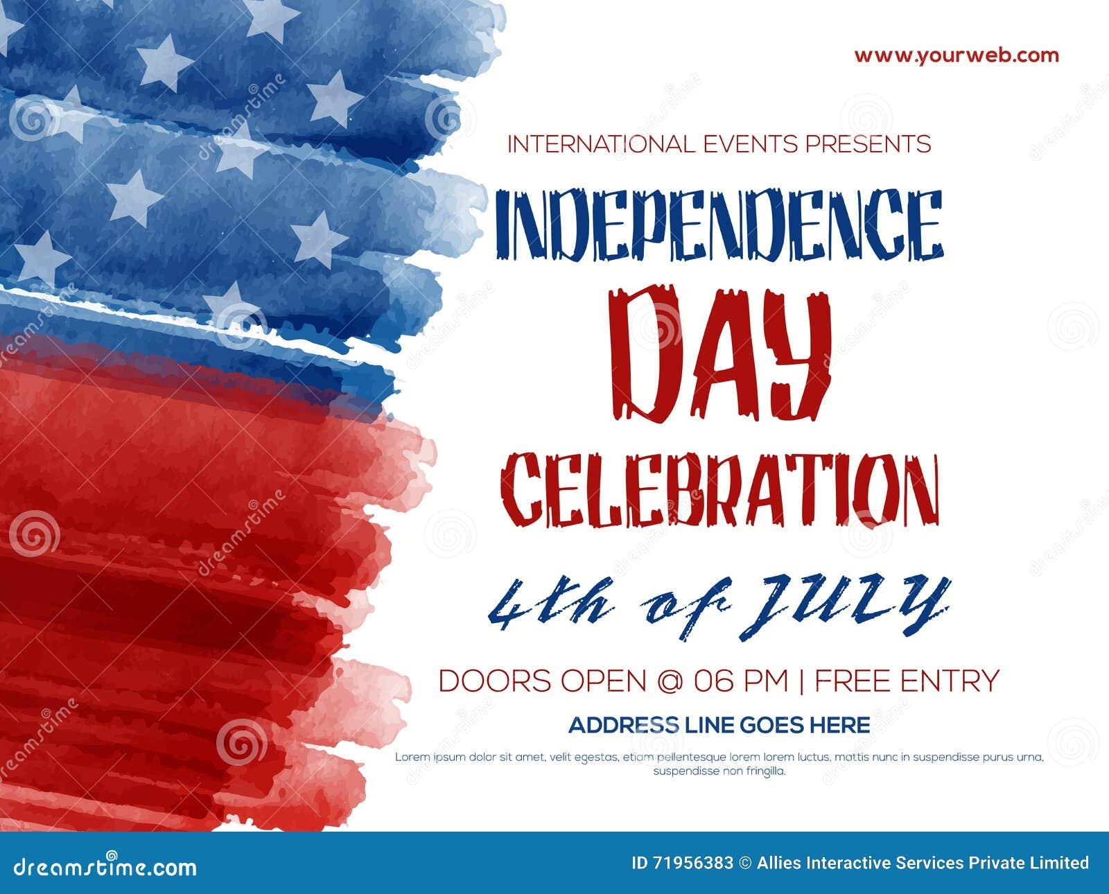Invitation Flyer For 4th Of July Celebration. Stock Illustration ...