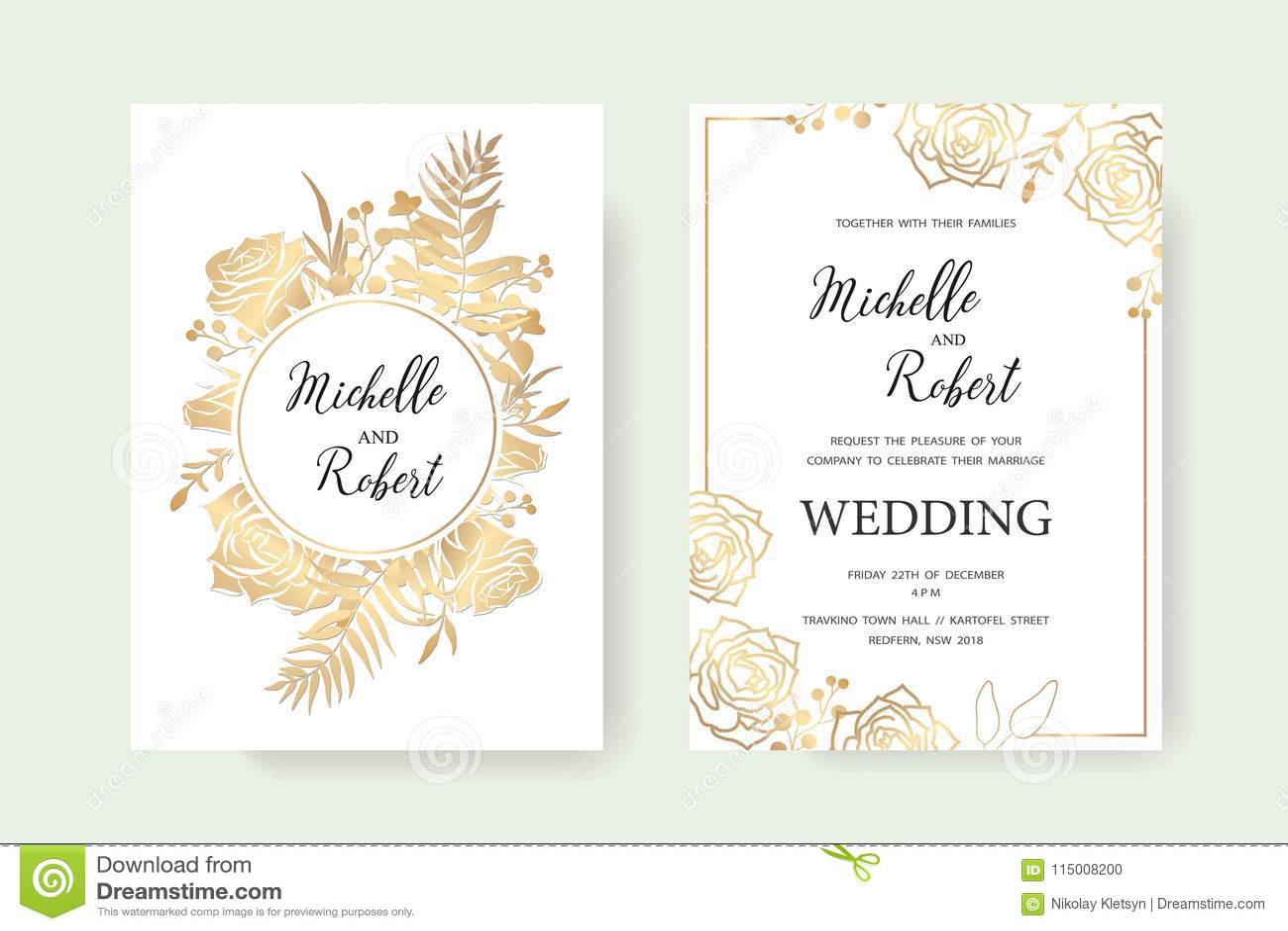 Invitation gold set stock vector Illustration of ornate