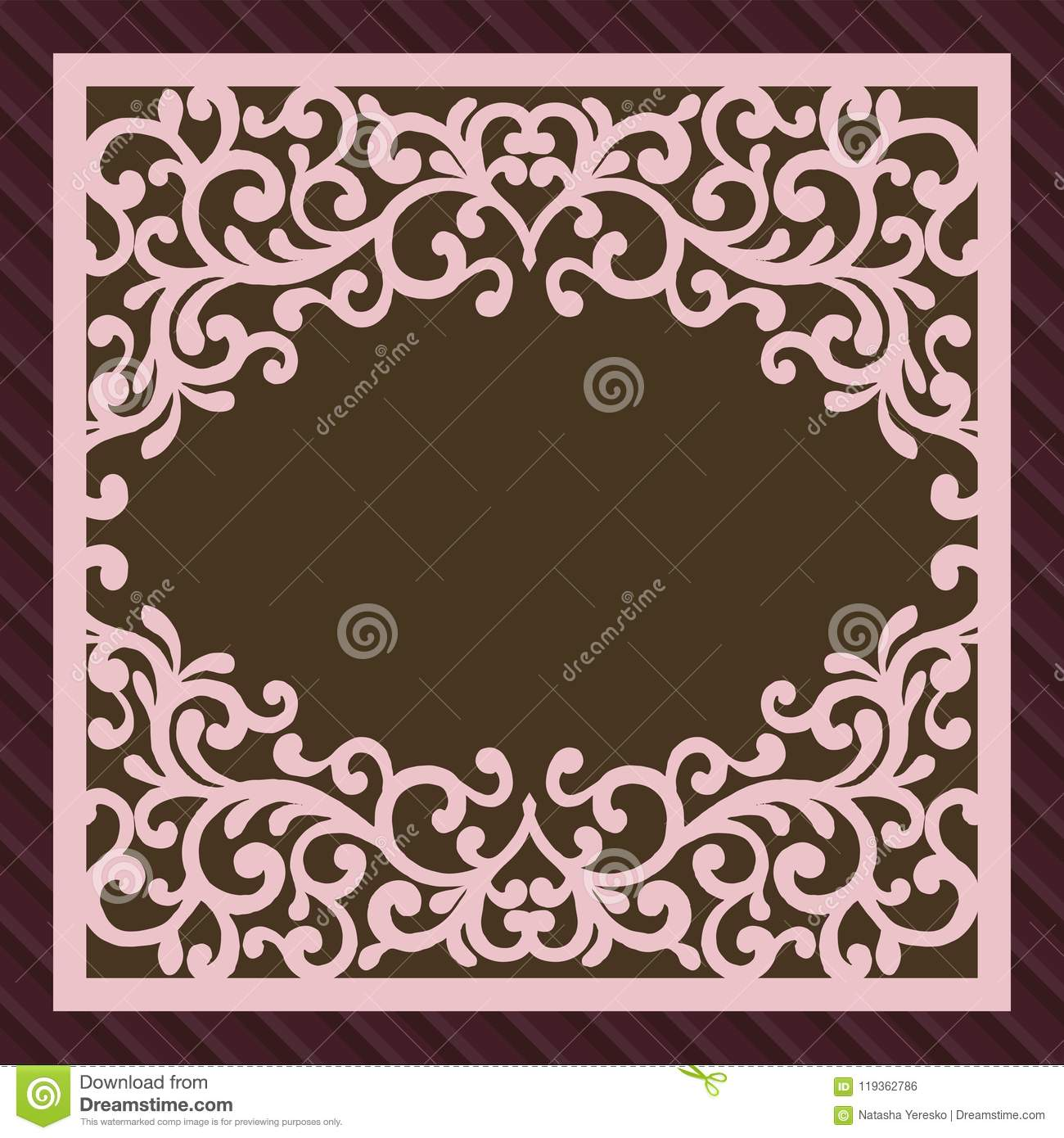 Invitation or greeting card with flower ornament. Cut laser square envelope template. Wedding invitation envelope for