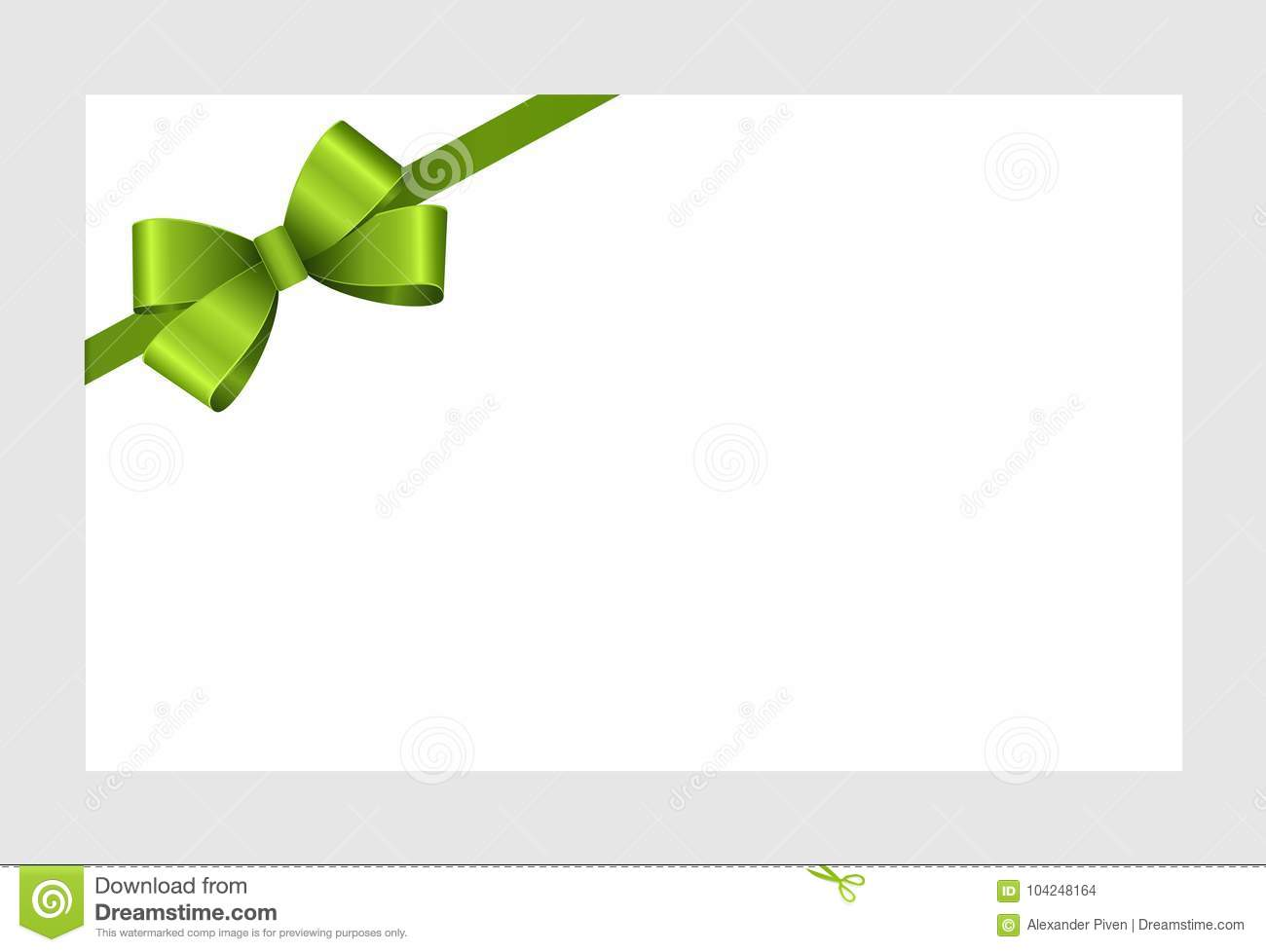 Invitation Greeting Or Gift Card With Green Ribbon Stock Vector