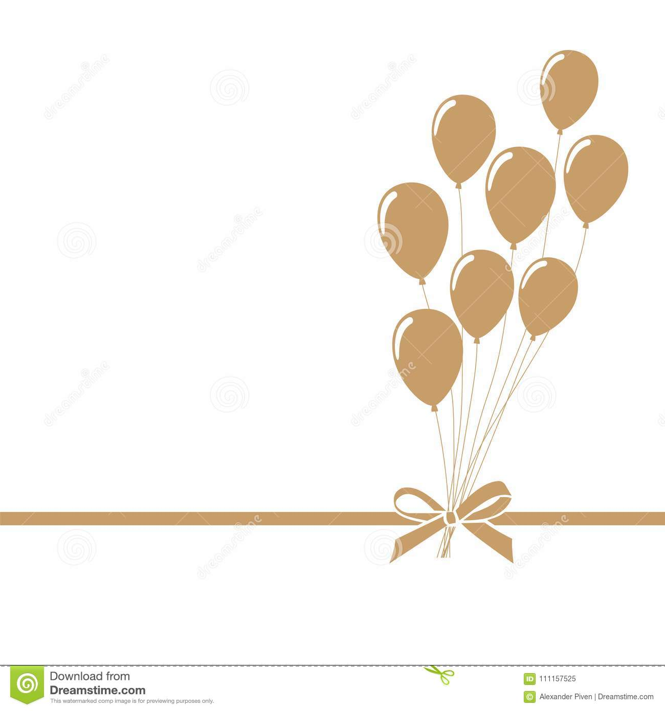 invitation greeting or gift card with party golden balloons with