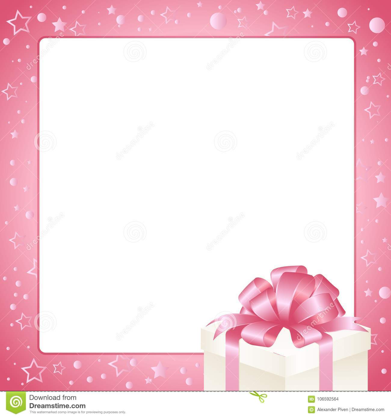 Invitation Greeting Or Gift Card Pink Frame With Box Bow