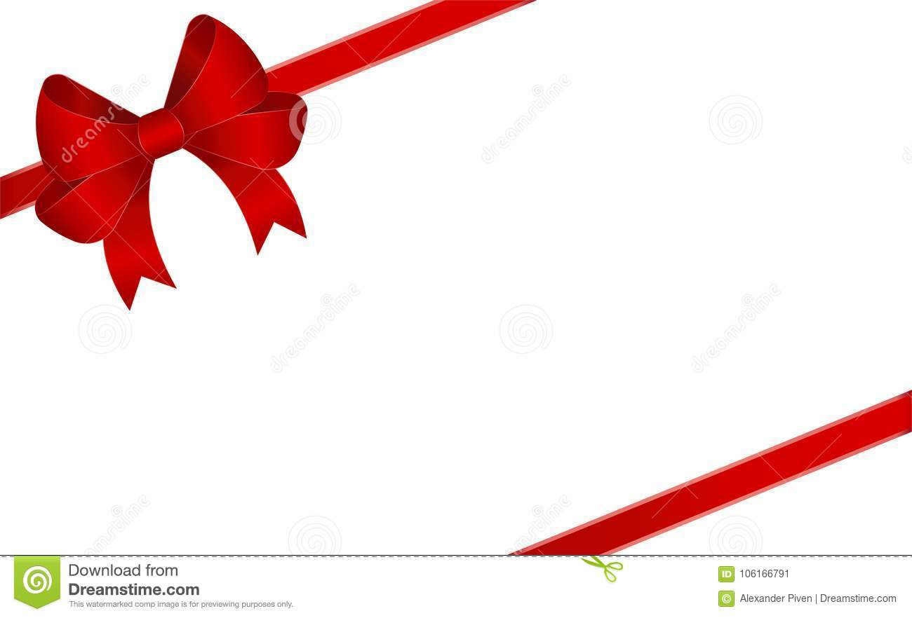 invitation greeting or gift card with red ribbon and a