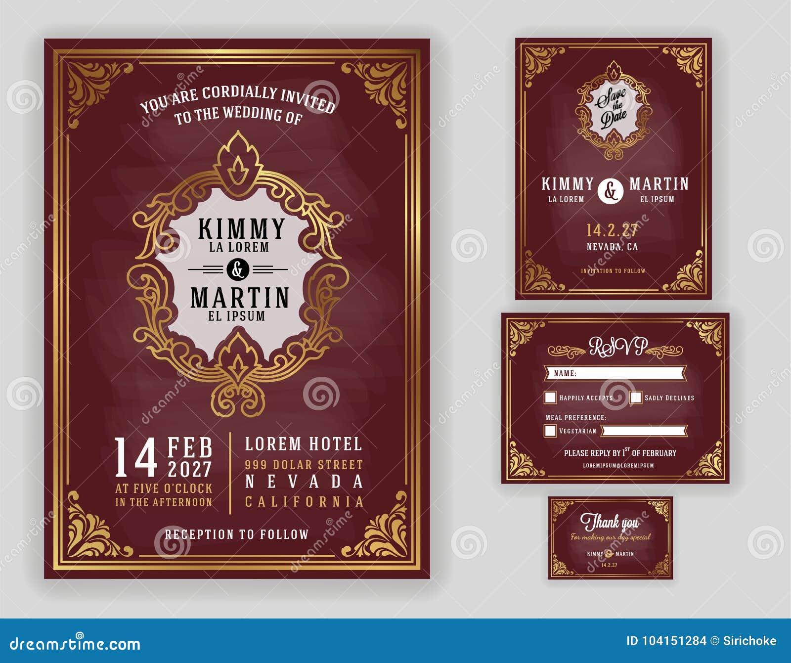 Invitation luxueuse de mariage de vintage sur le fond de tableau