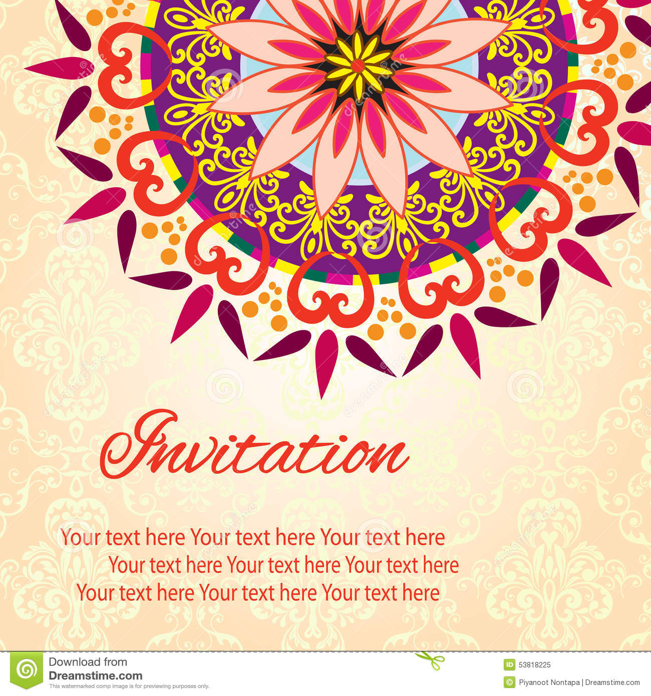 Invitation Mandala Card Stock Vector Image 53818225