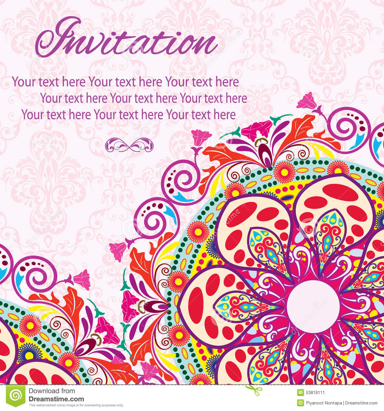 Invitation Mandala Card Stock Vector