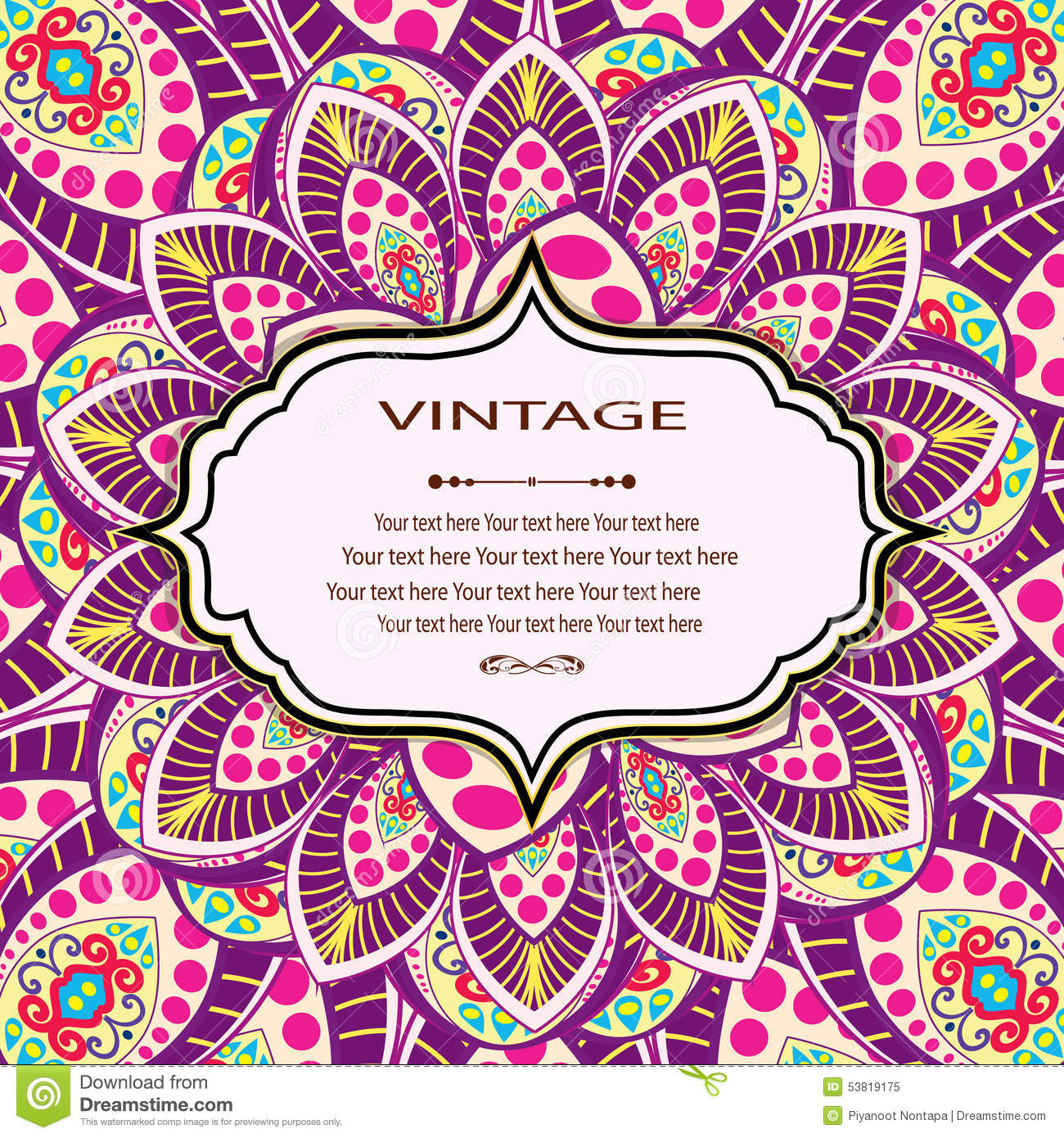 Invitation Mandala Card Stock Vector Image 53819175