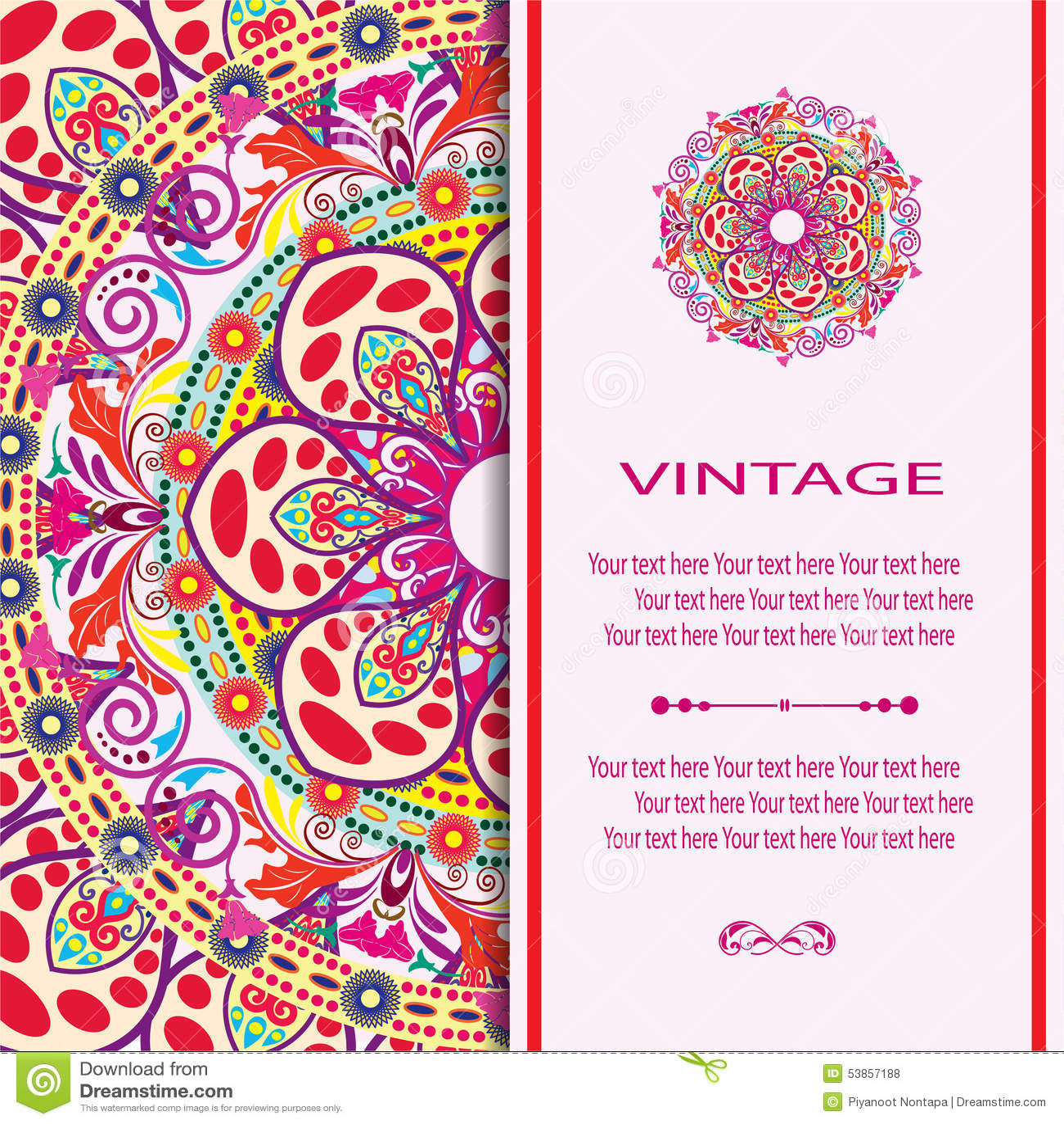 Invitation Mandala Card Stock Vector Image Of Half Decor