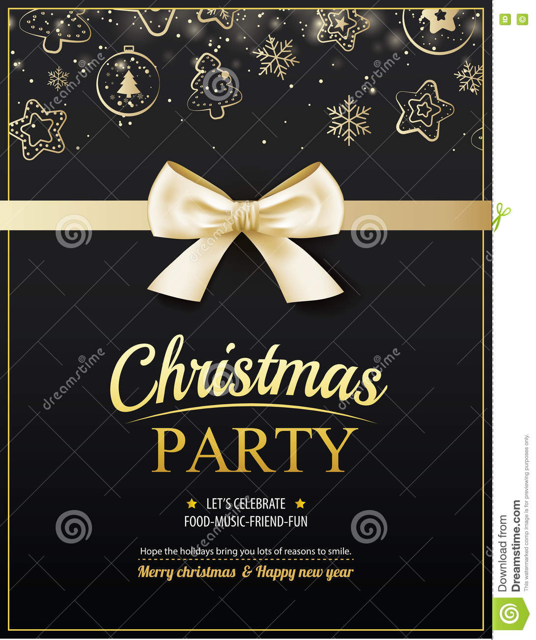 invitation merry christmas party poster banner and card design template happy holiday and new year with gold ribbon theme concept