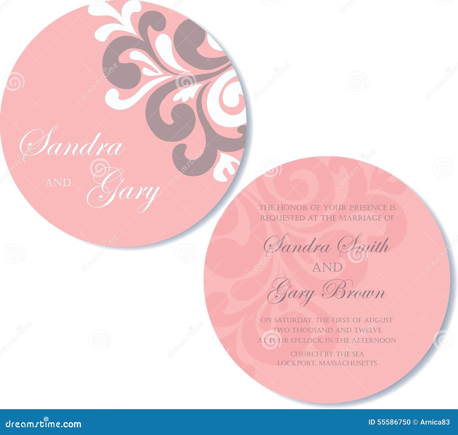 Invitation ronde et double face de mariage