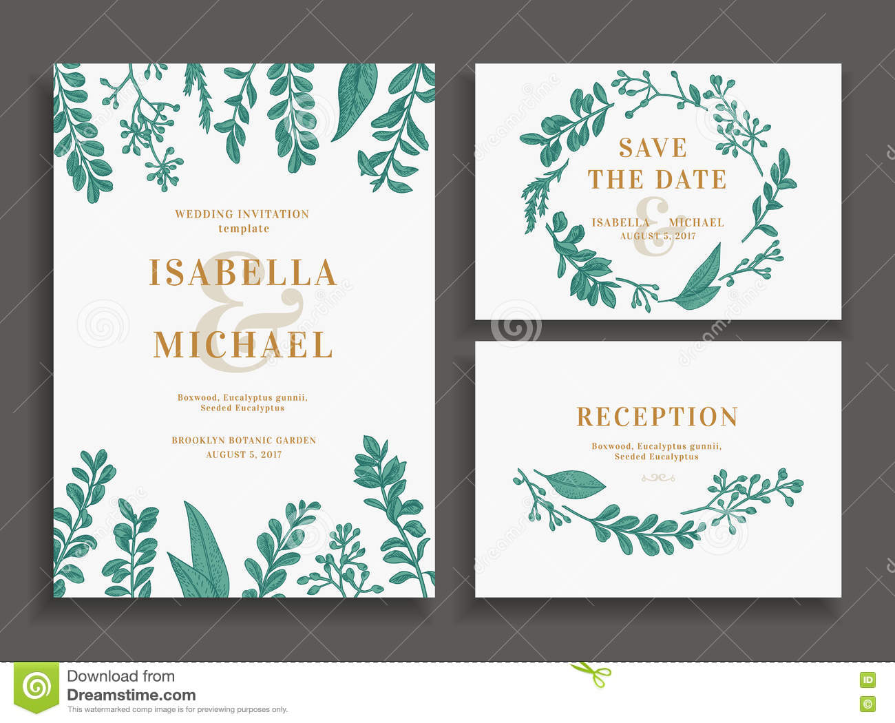 invitation save the date reception card stock vector