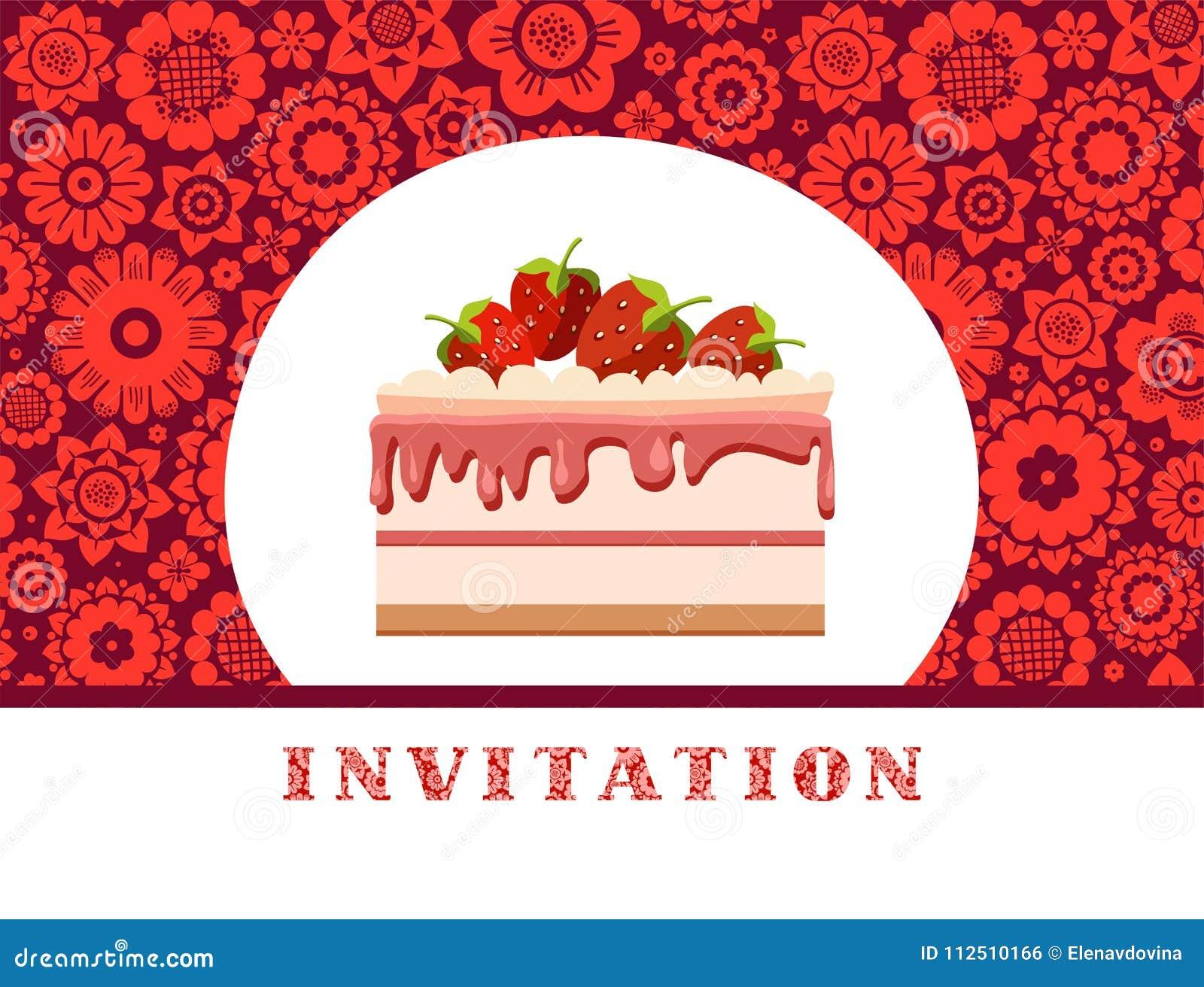 Invitation, Strawberry Cake, Dark Red, Floral Background, Vector ...