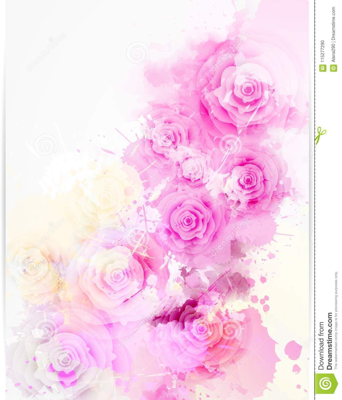 Floral Invitation Wedding Template With Abstract Roses Stock Vector ...