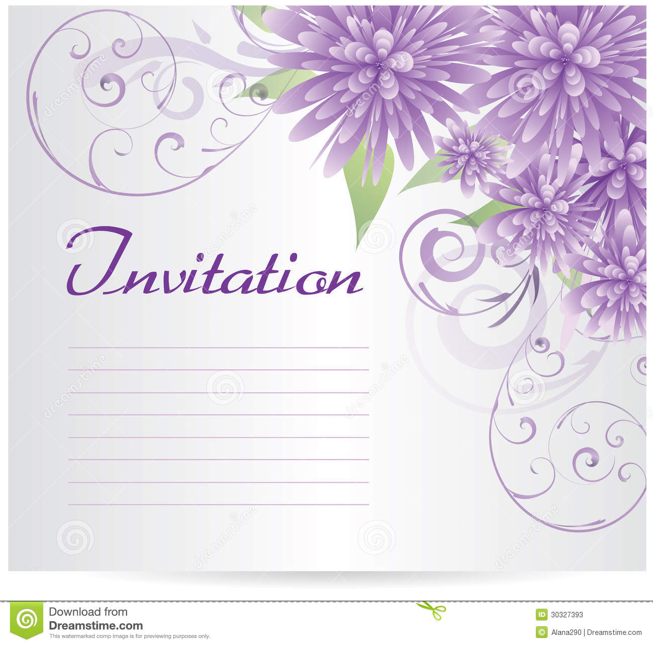 Invitation Template Blank With Purple Abstract Flowers Stock Vector