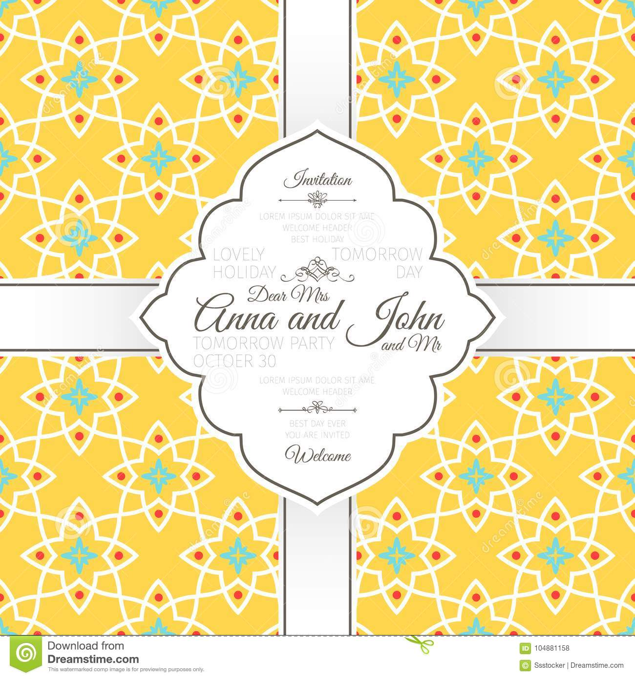 Invitation card with islamic yellow pattern stock vector download invitation card with islamic yellow pattern stock vector illustration of decorative design stopboris Images