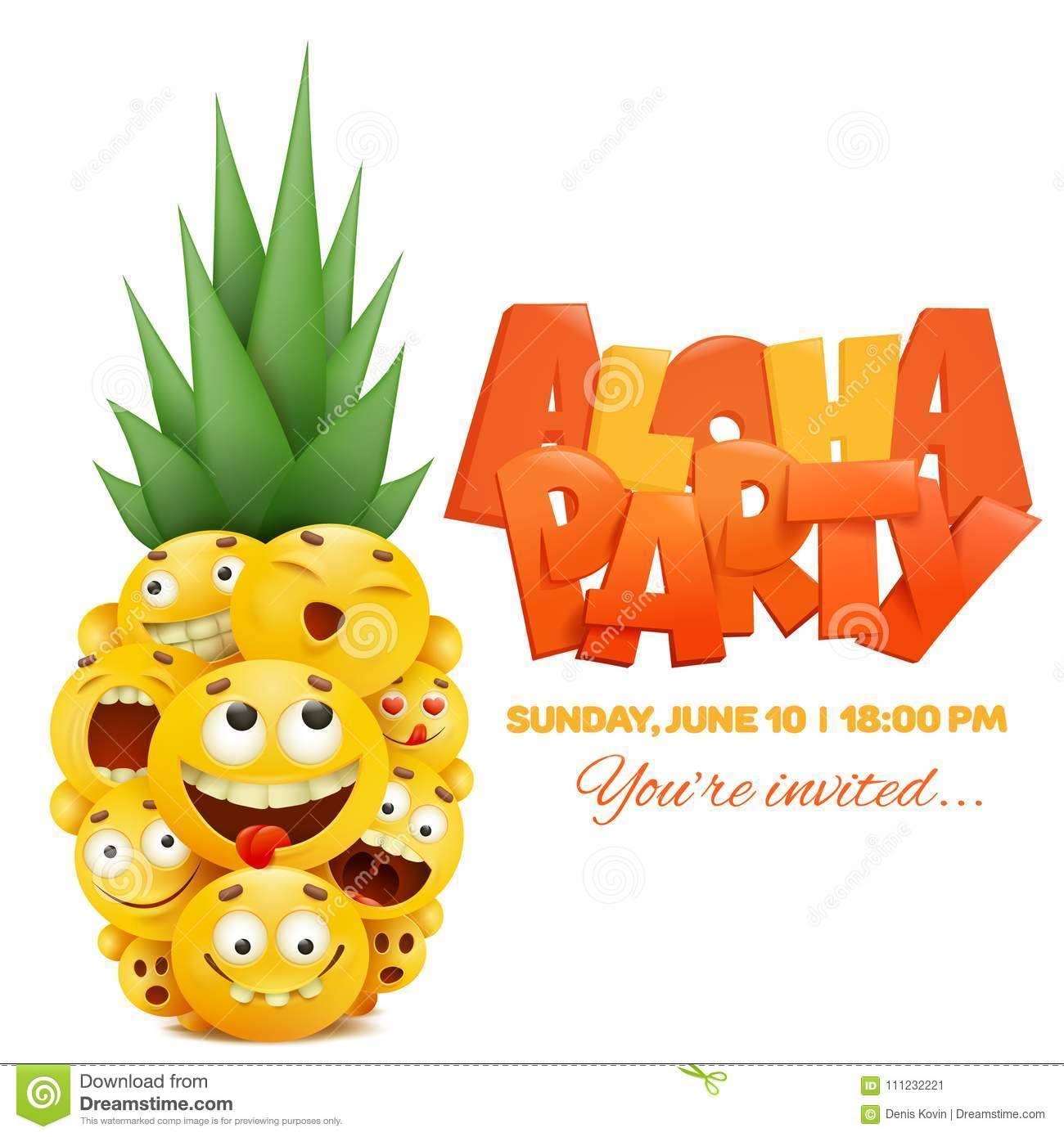 Invitation Template Card With Yellow Emoji Cartoon Smiley Faces