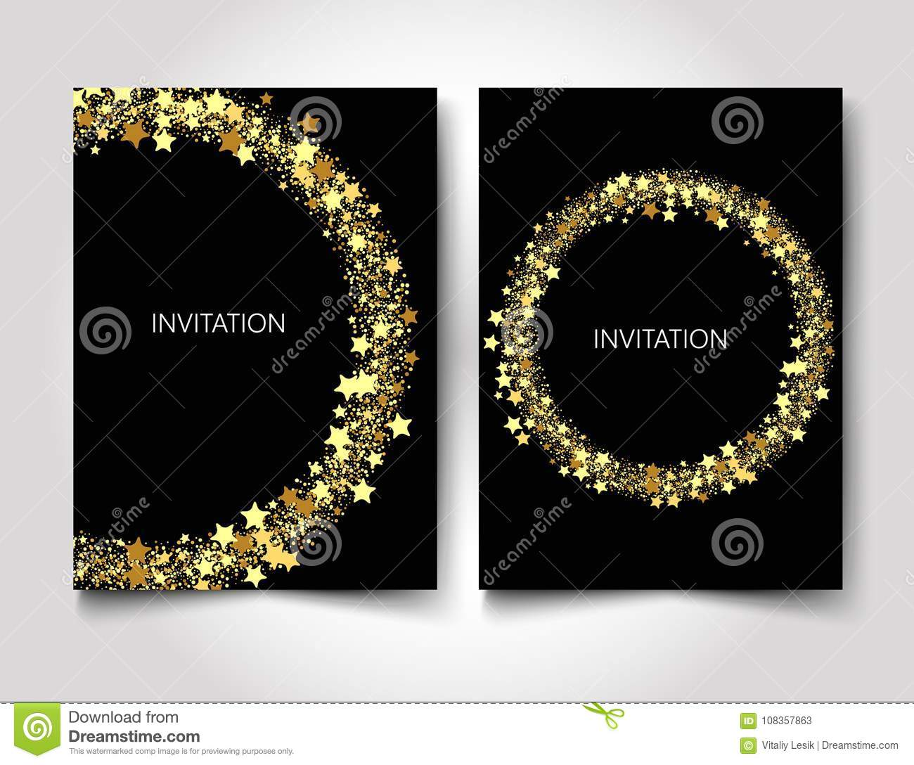 invitation template gold glitter with gold stars on a black