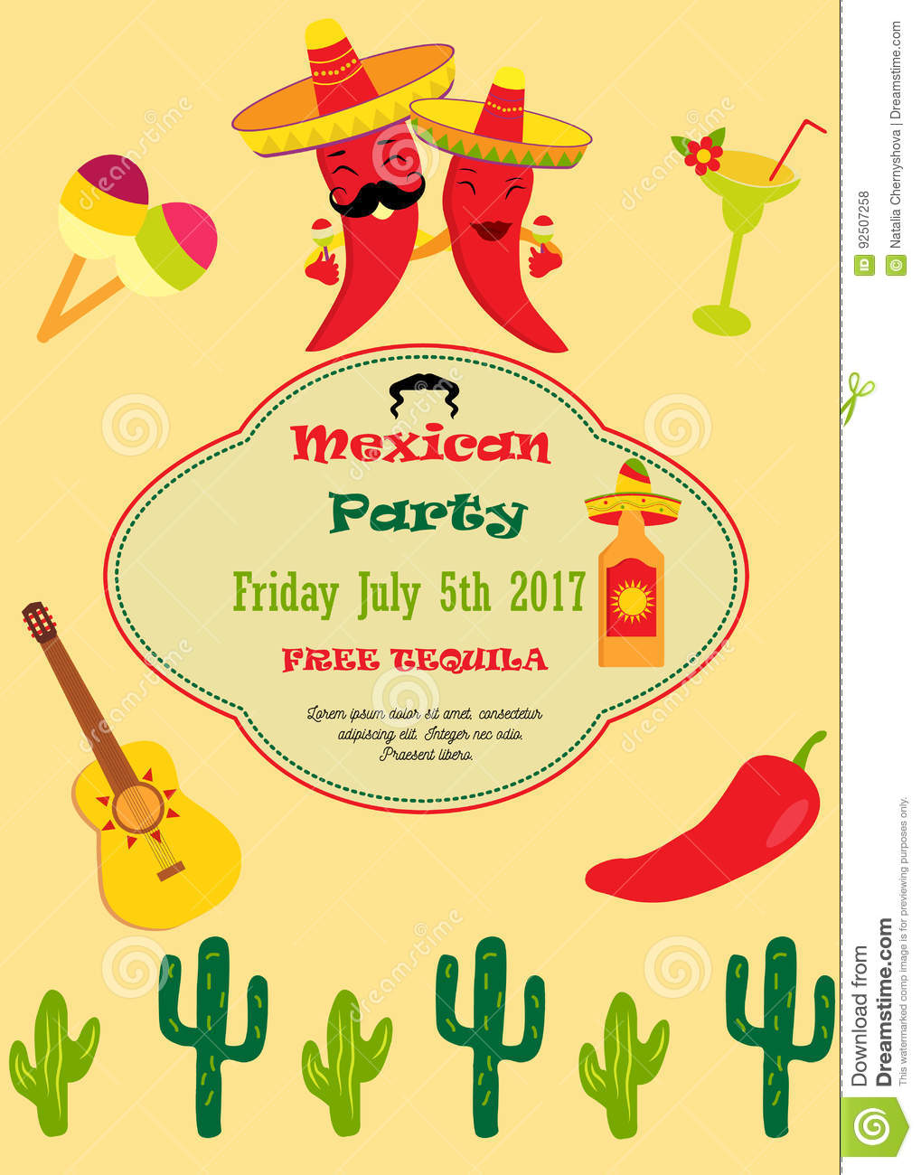 Invitation Template For Mexican Party Stock Vector