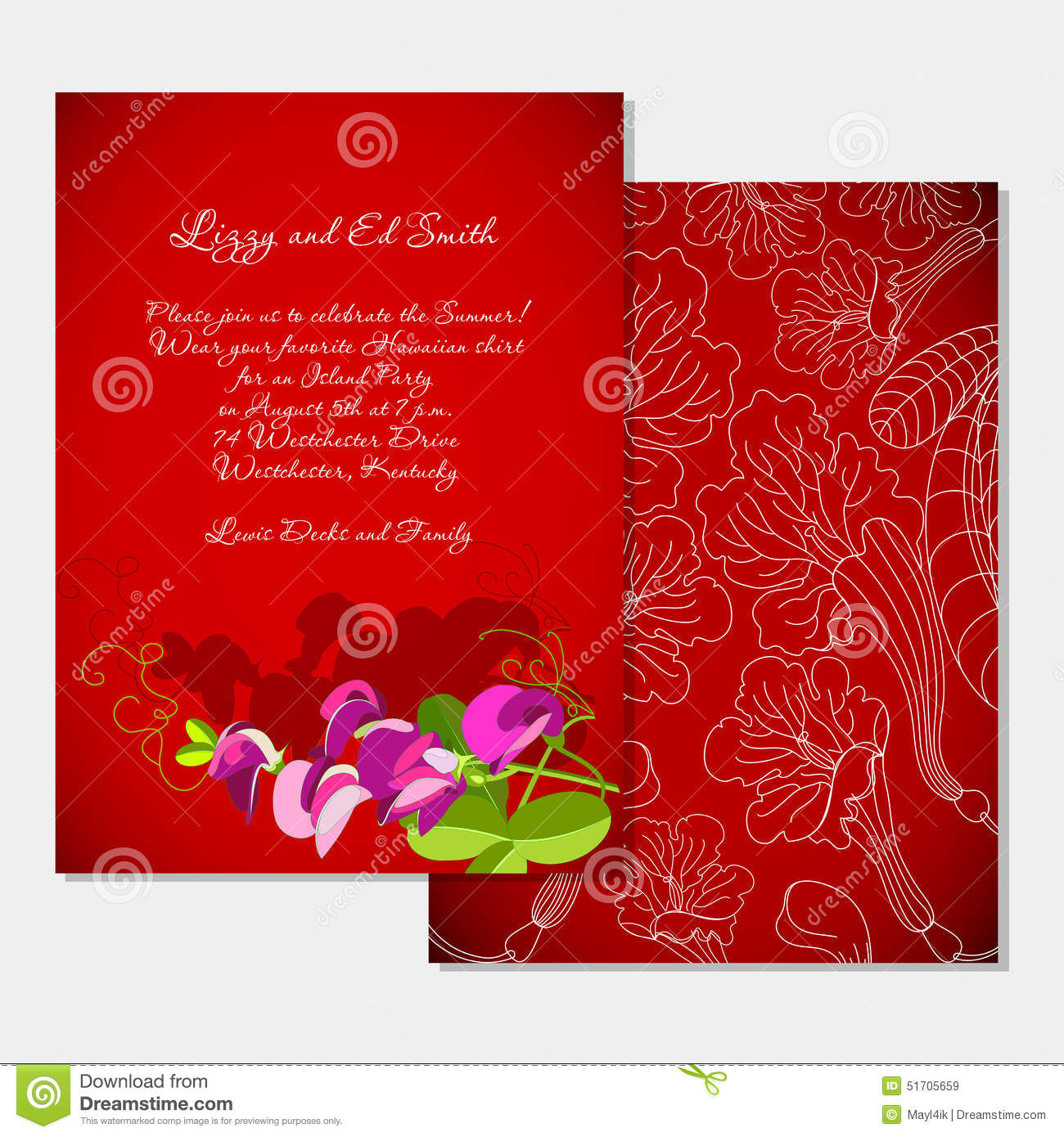 Invitation Template On Tropical Party Stock Vector - Illustration of ...