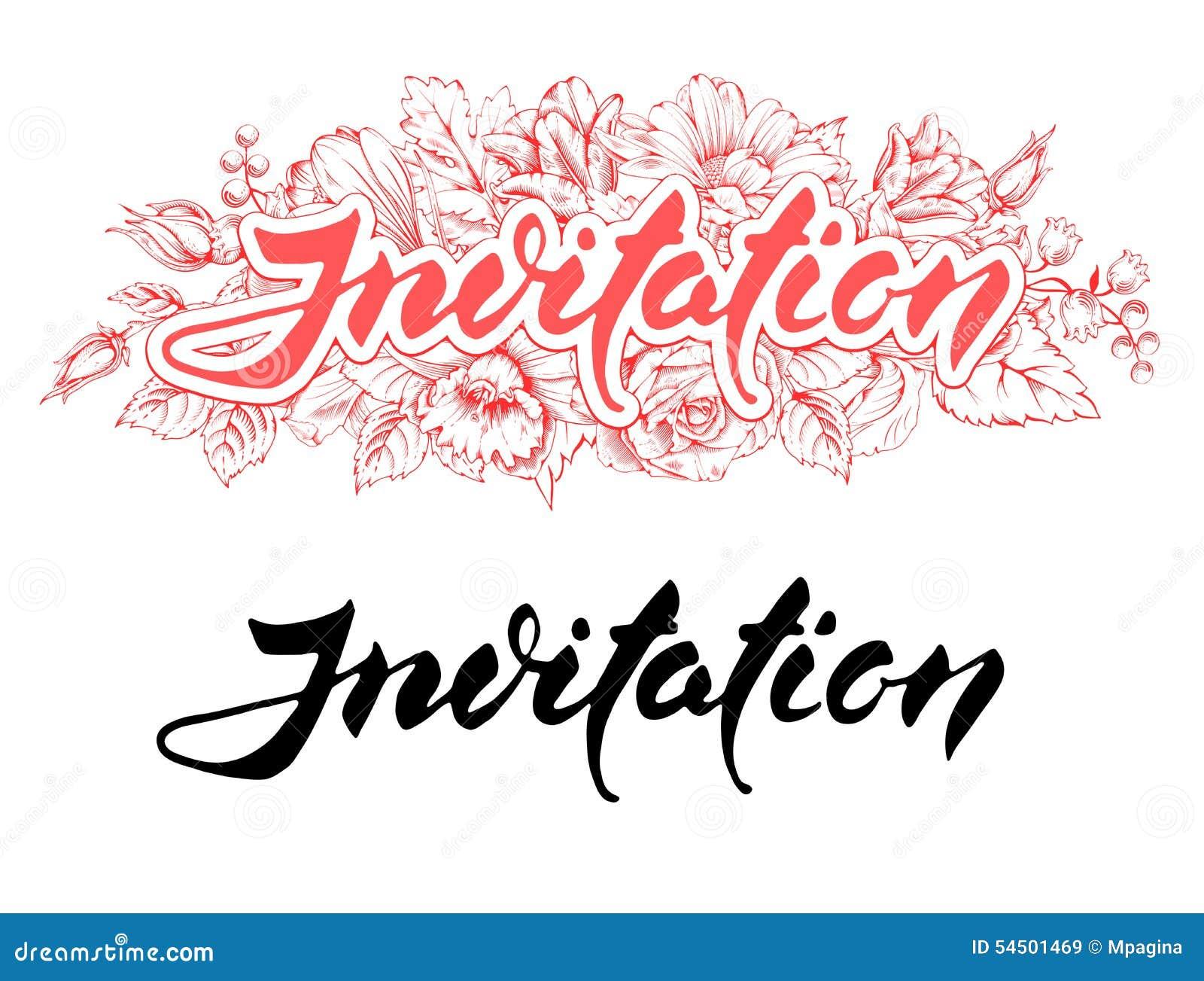 Invitation text stock vector illustration of handwritten 54501469 invitation text royalty free vector stopboris Choice Image