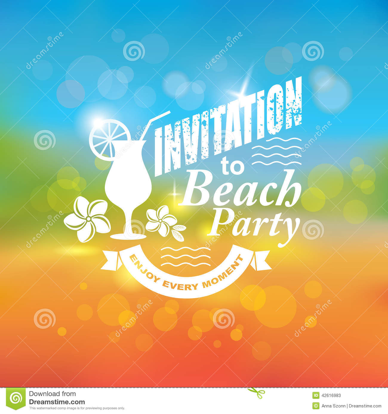 invitation to beach party stock vector image 42616983