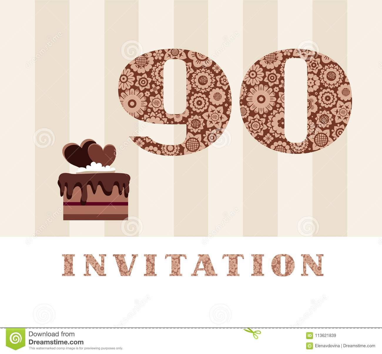 Invitation Color 90 Years Old Chocolate Cake Heart Shaped Vector