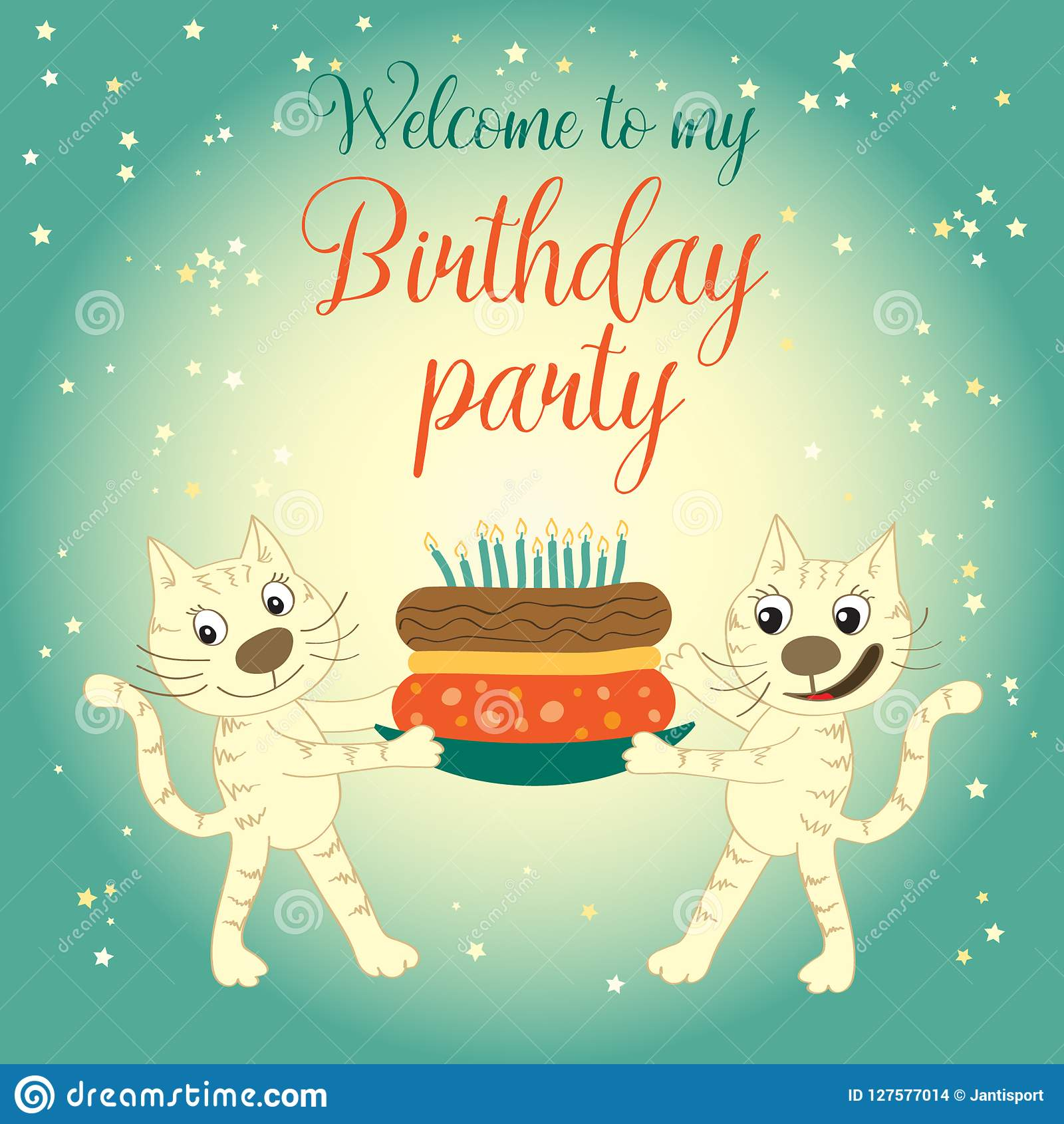 Invitation Card With Cats Welcome To My Birthday Party