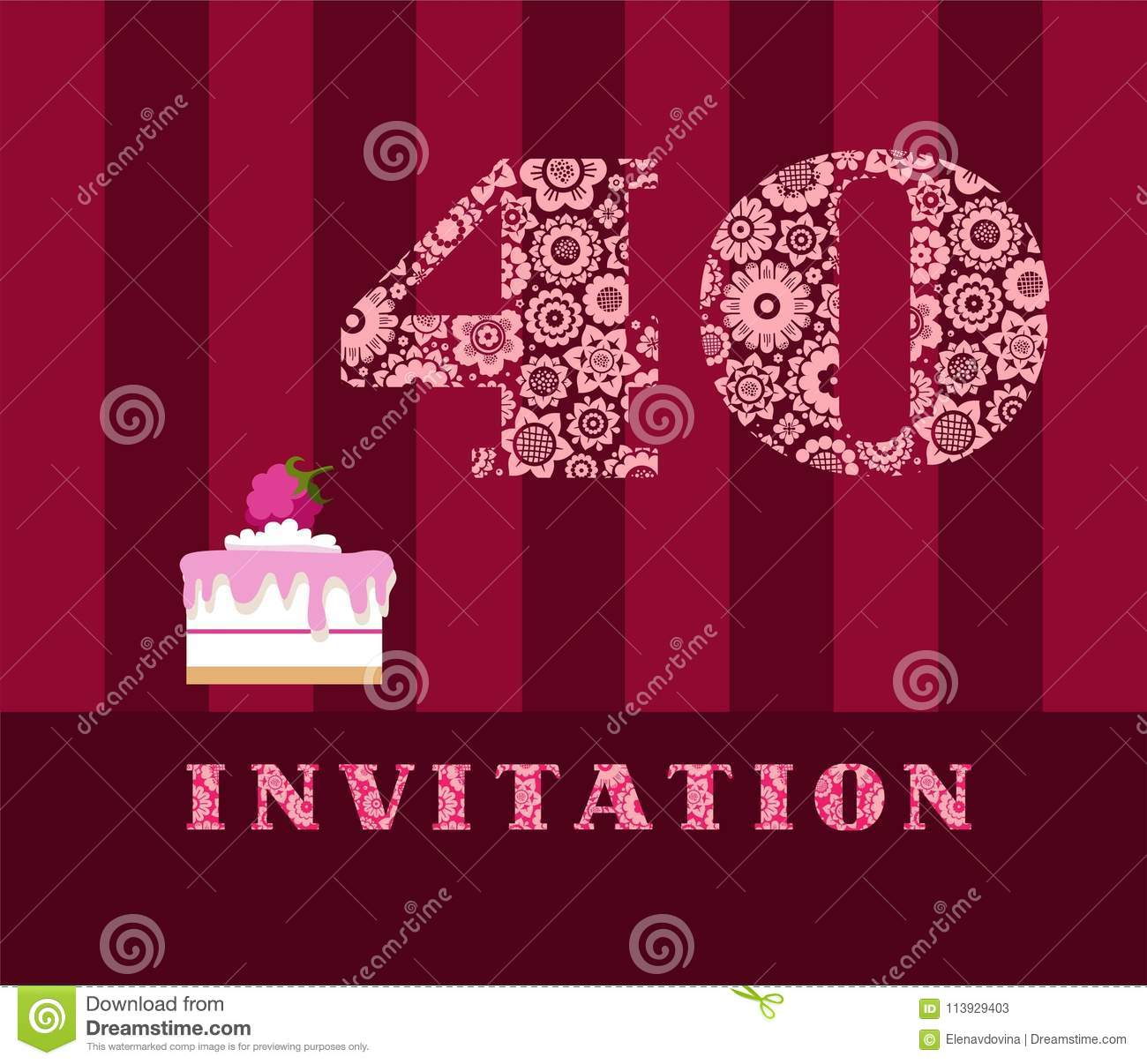 Invitation 40 Years Old Raspberry Pie Vector English