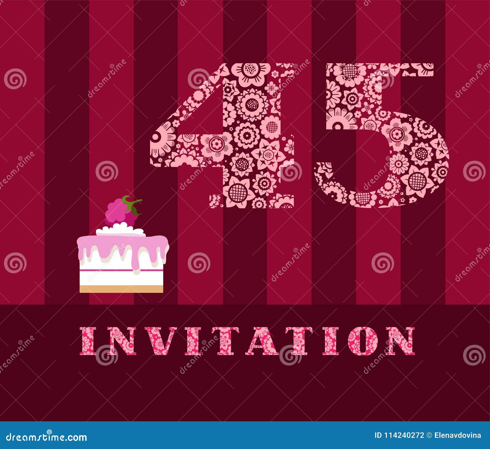 Invitation 45 Years Old Raspberry Pie Vector English