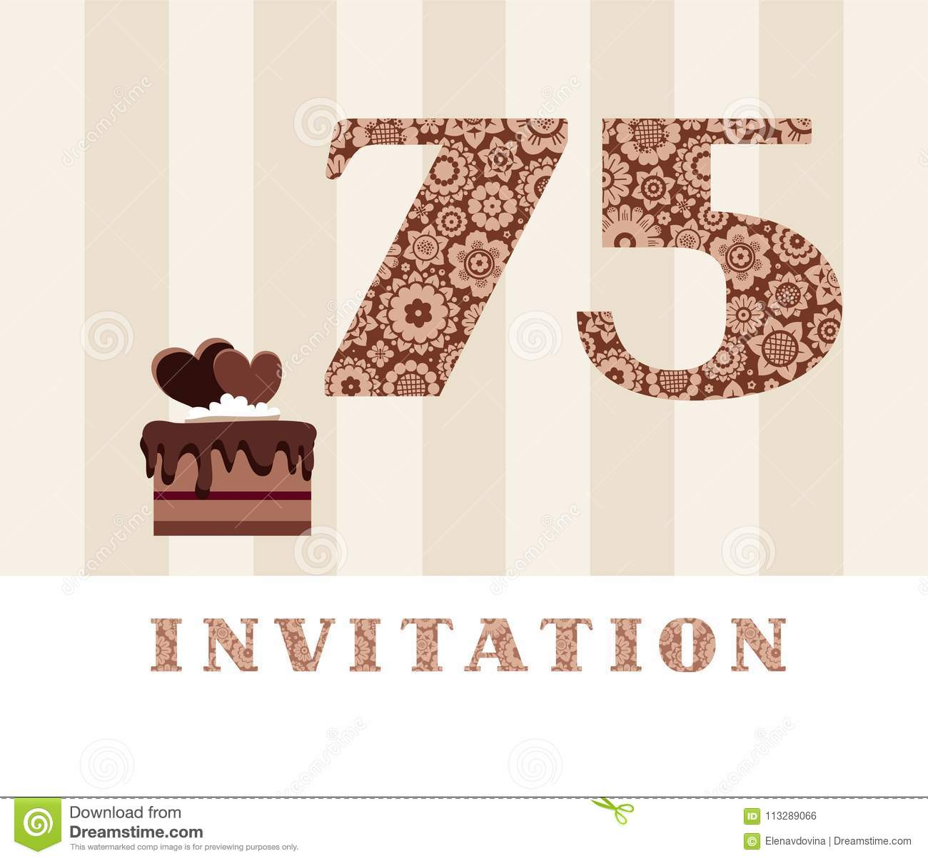 The Invitation 75 Years Old Chocolate Cake Heart Shaped Vector