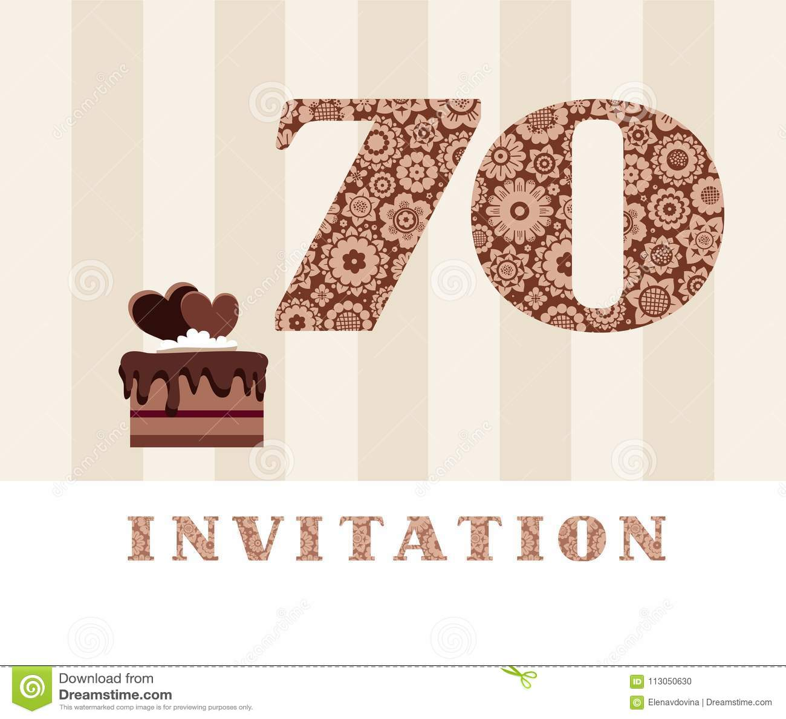 Invitation 70 Years Old Chocolate Cake Heart Vector