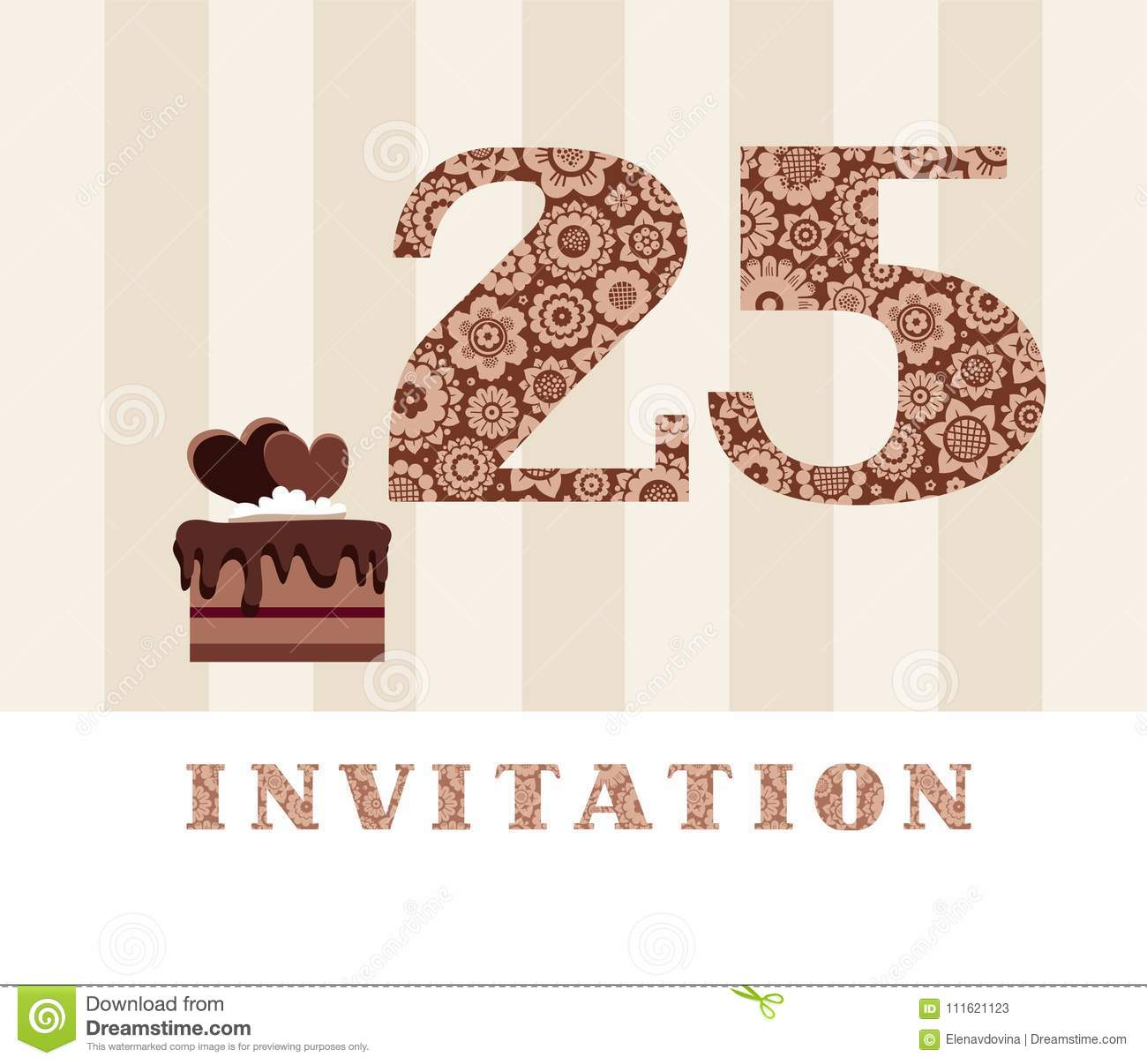 Invitation 25 Years Old Chocolate Cake Heart Vector
