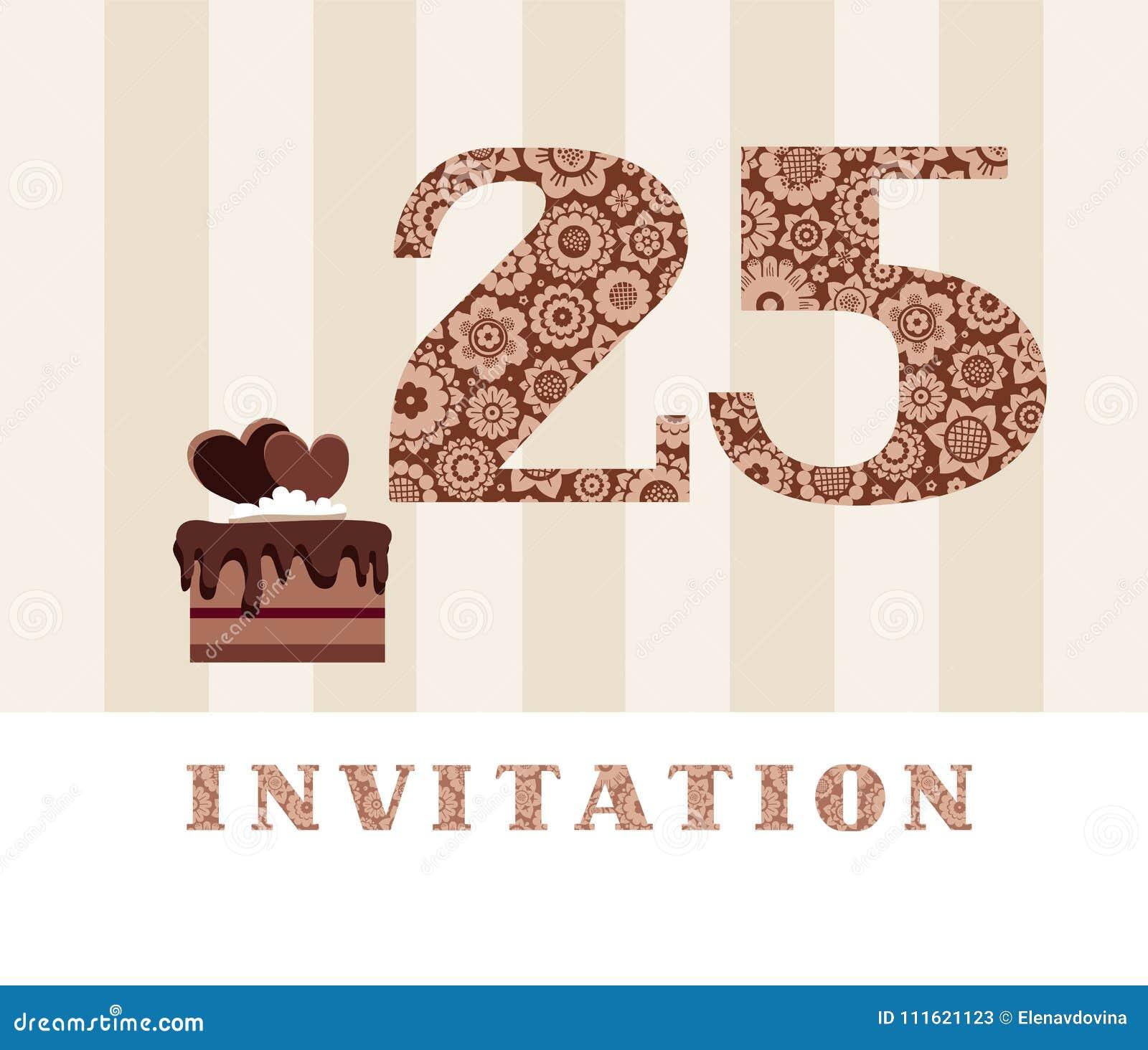 Invitation 25 Years Old Chocolate Cake Heart Vector Stock