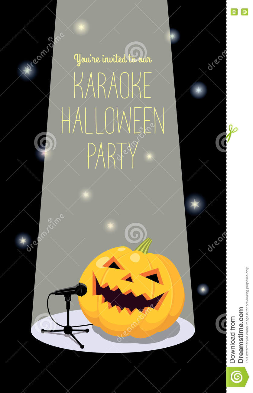 invitation to halloween karaoke party stock vector