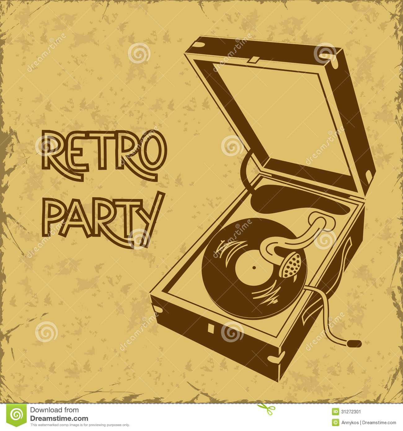 Invitation to retro party with gramophone stock vector for Retro images