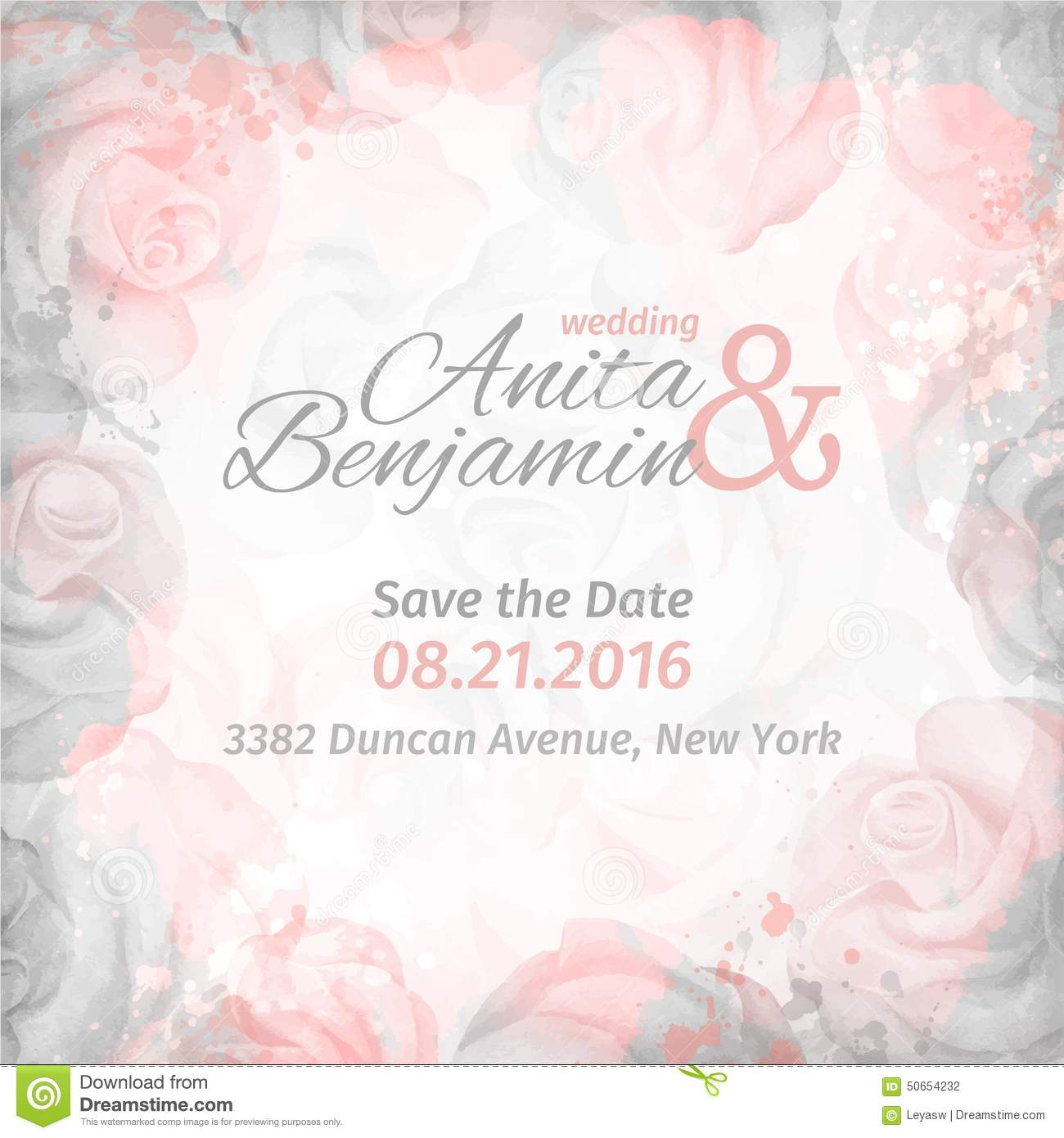 Invitation To The Wedding. Abstract Romantic Rose Background In Pink ...