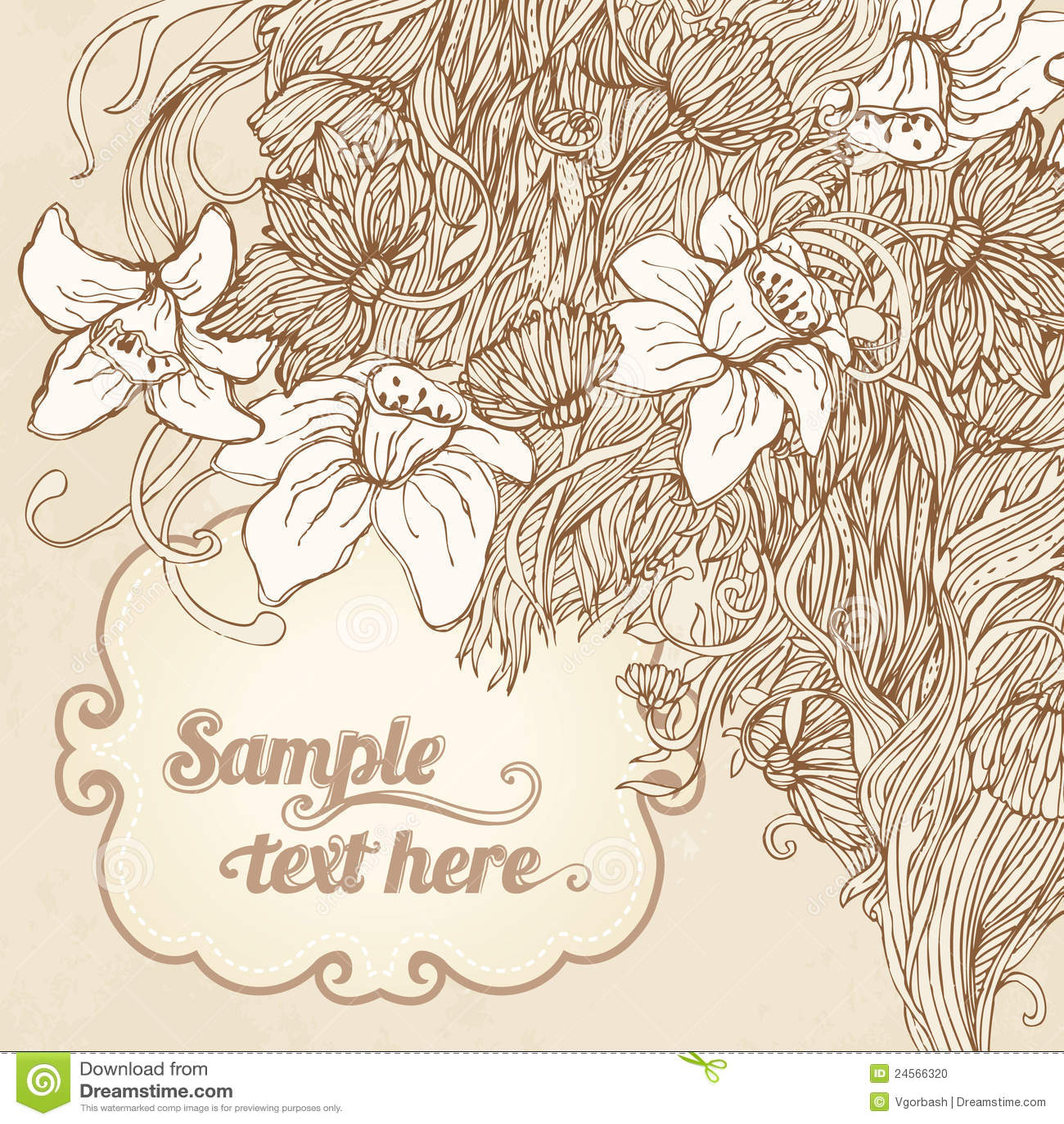 Invitation Vintage Floral Card Background Stock Photo Image 24566320