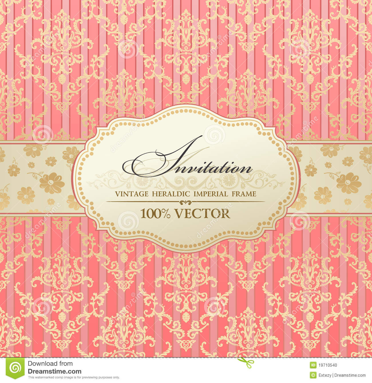 invitation vintage label frame pink