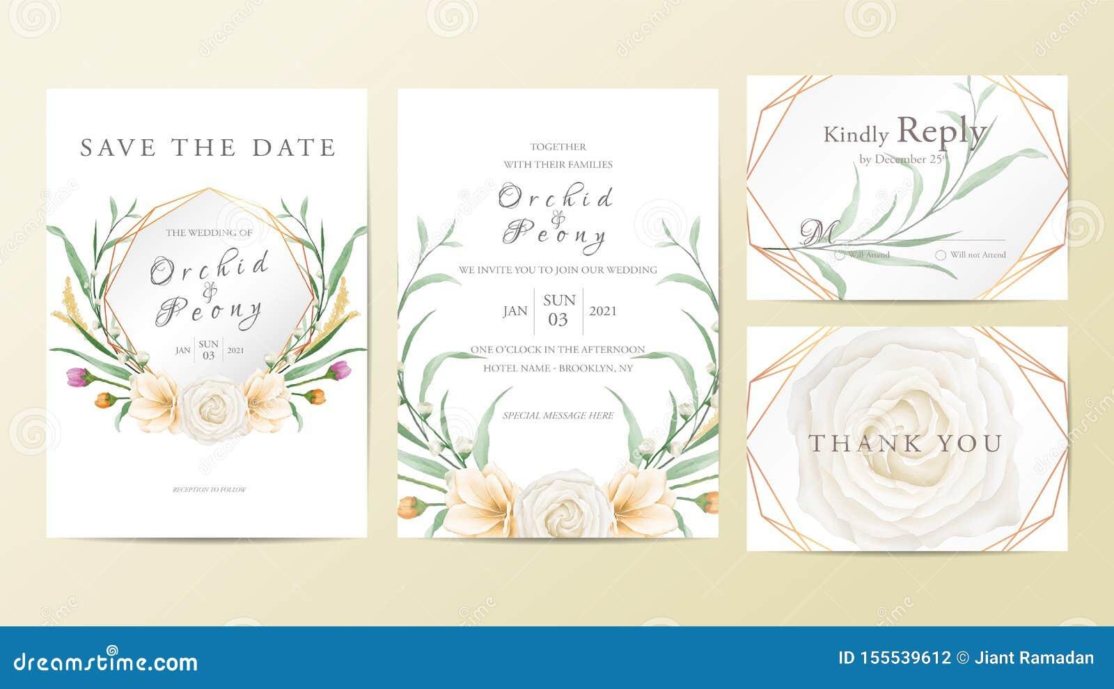 Elegant Geometric Floral Frame Wedding Invitation Cards